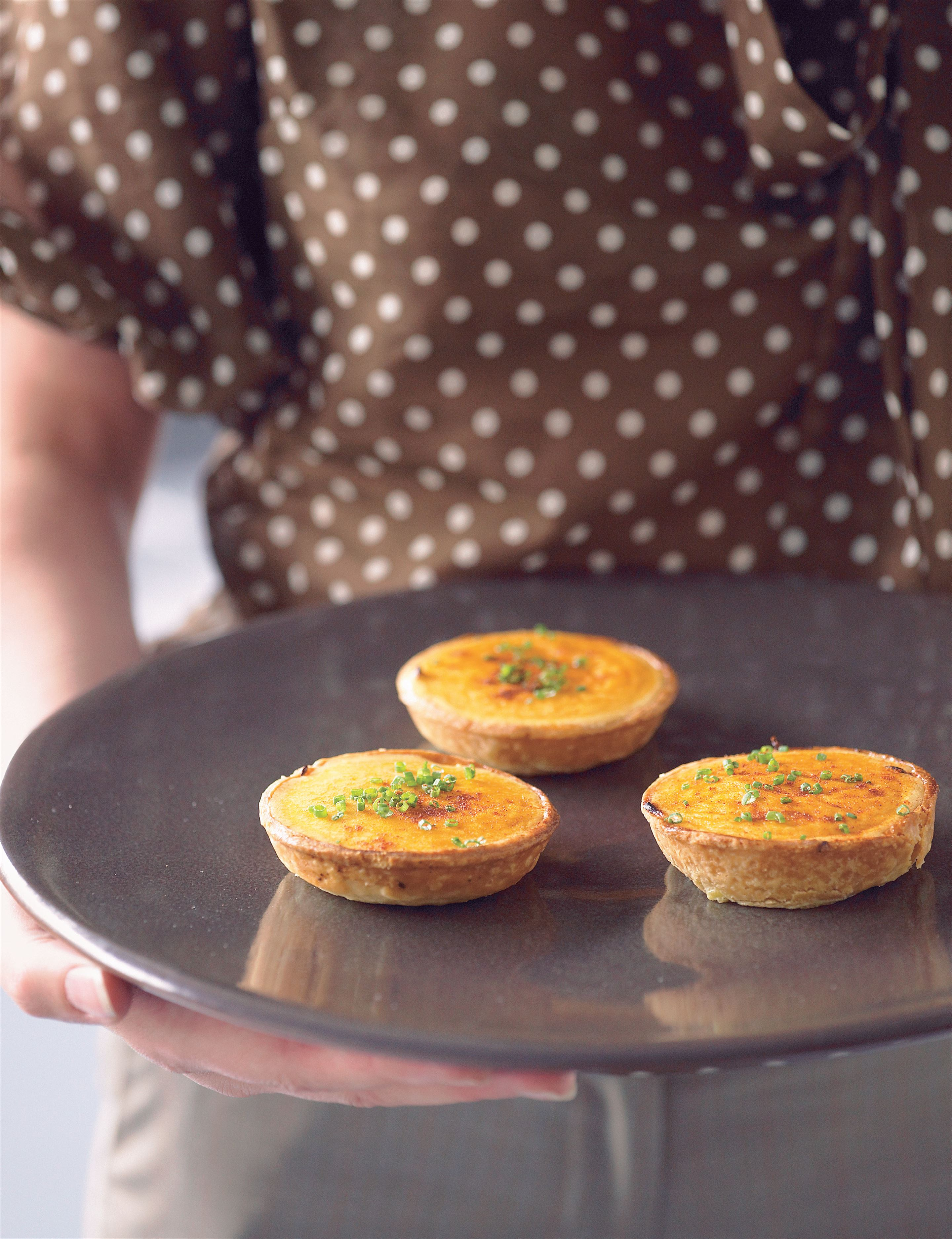 Little gruyère and onion tartlets with chive sabayon