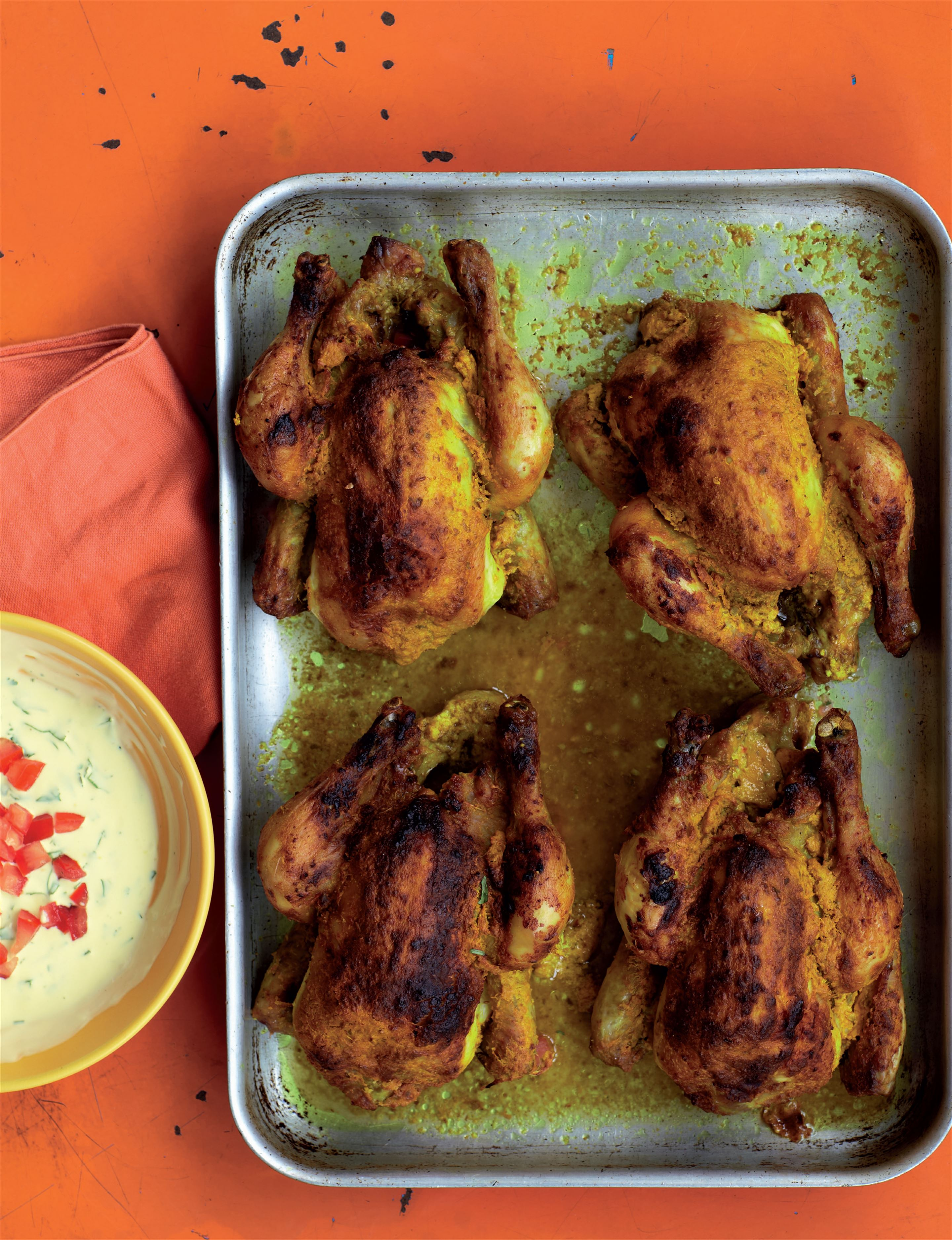 Lazy roast poussins with sunshine saffron yogurt