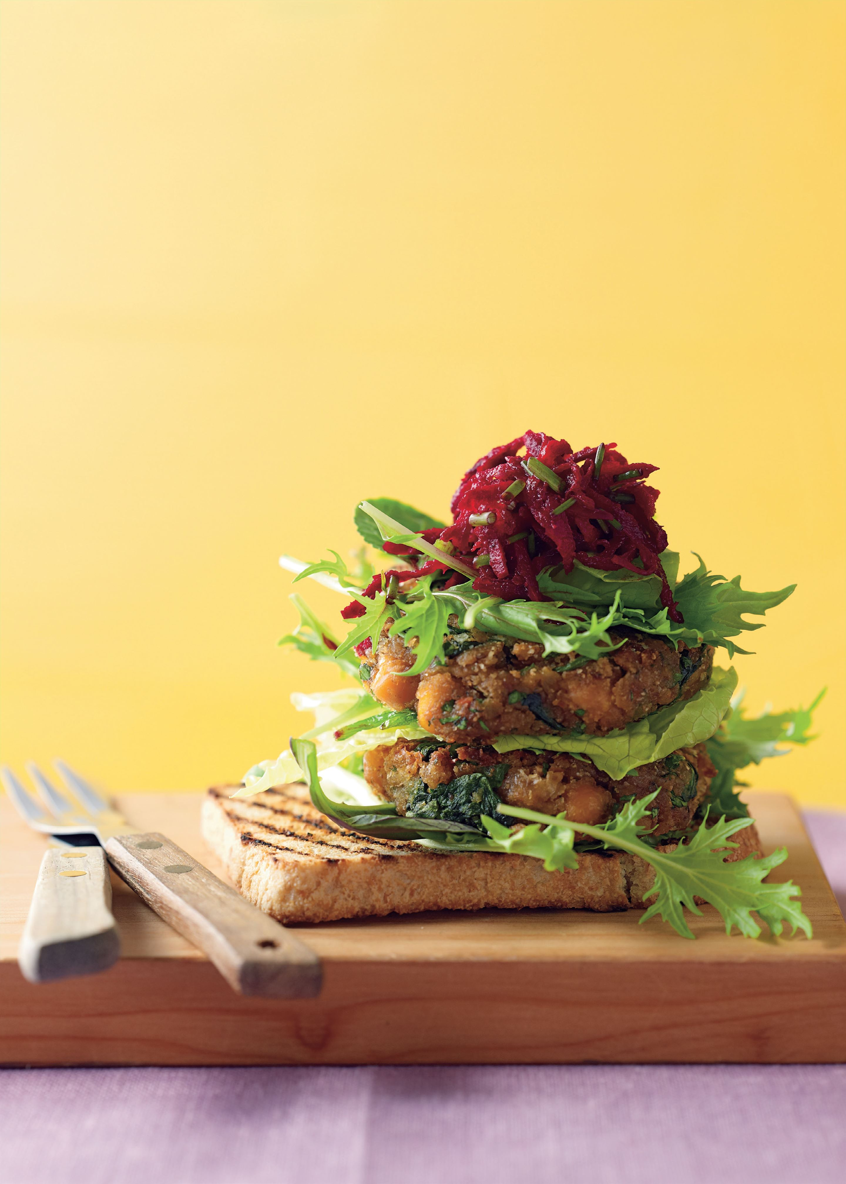Spiced chickpea burgers with fresh beetroot salsa and salad