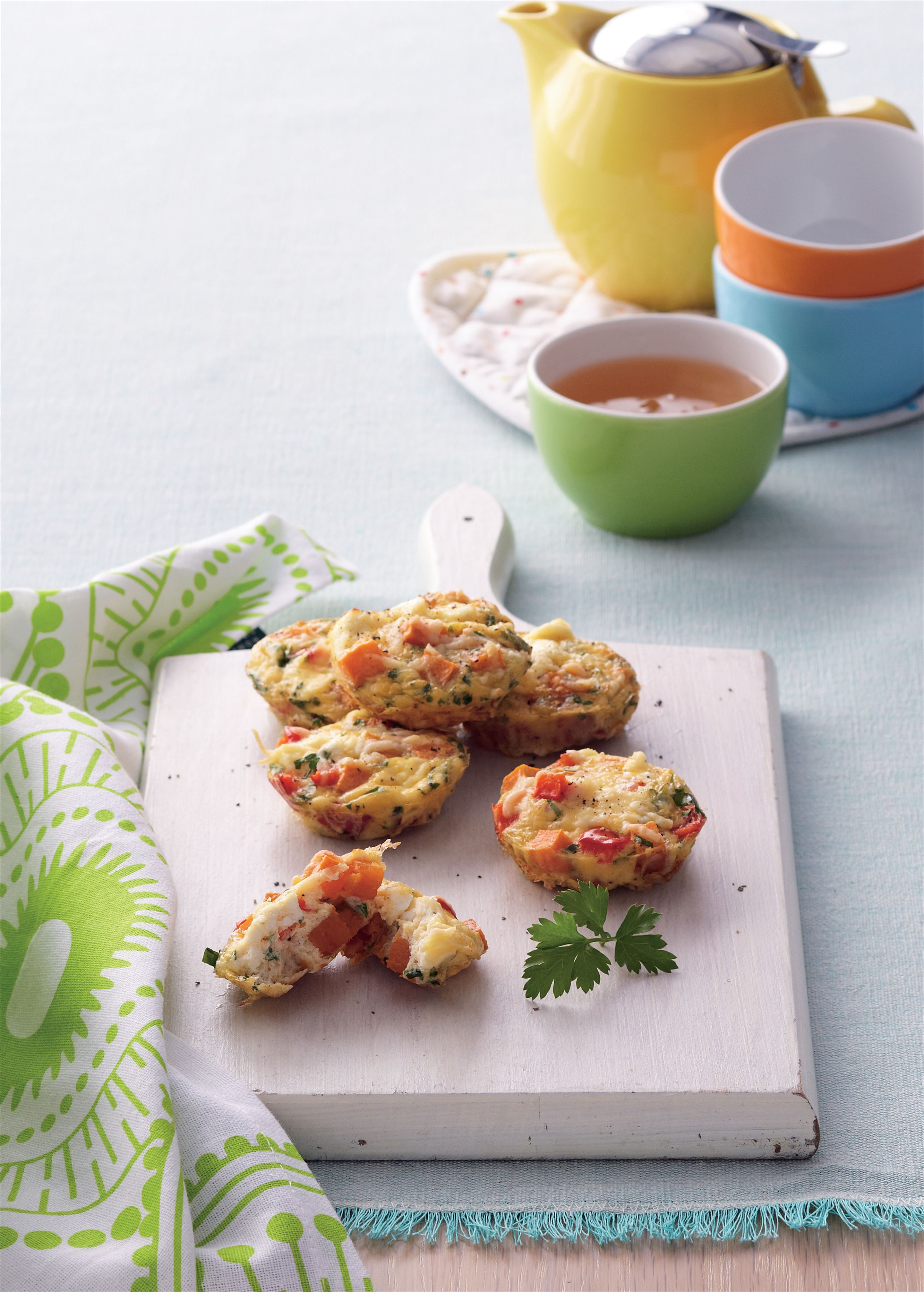 Mini sweet potato and capsicum frittatas