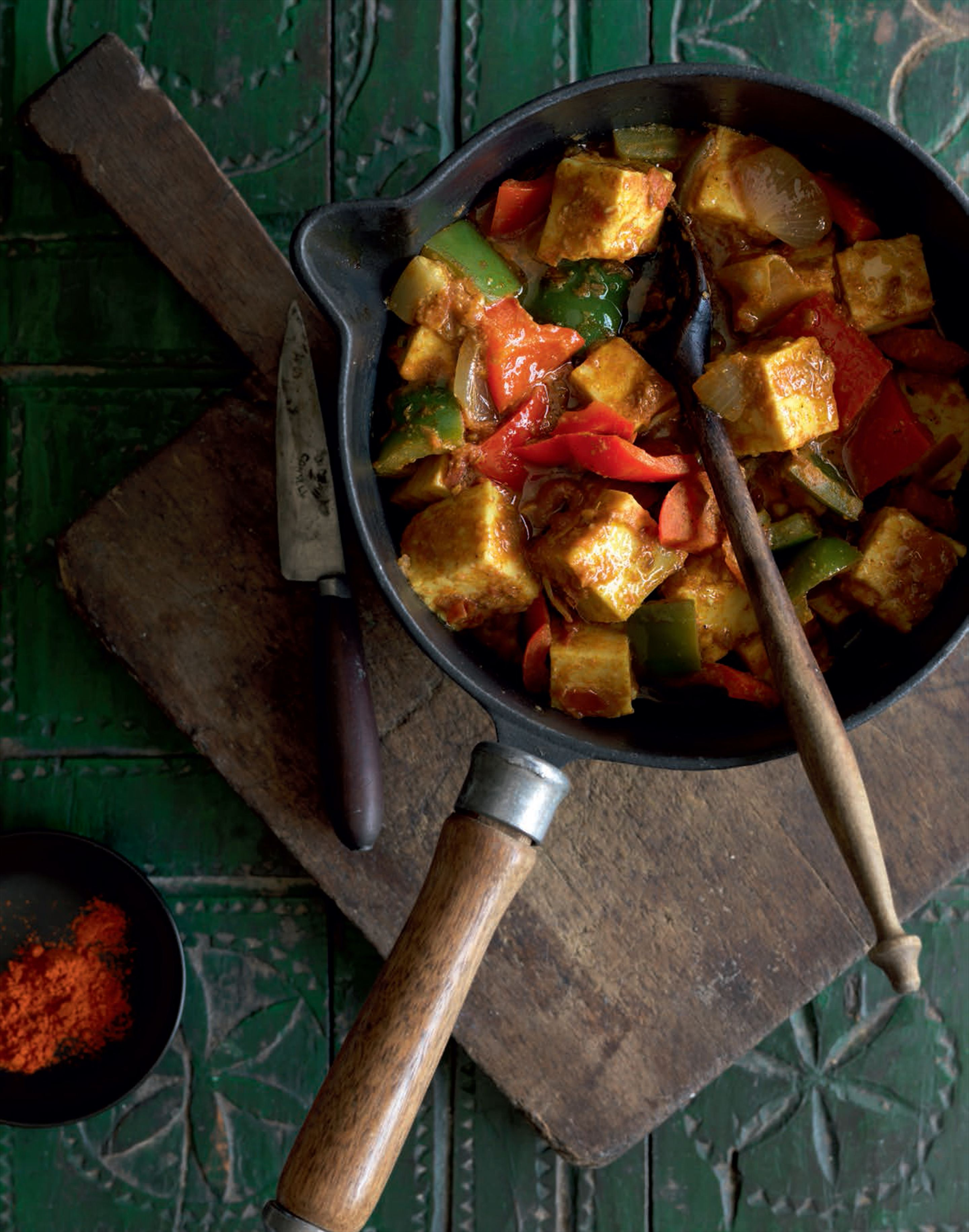 Paneer and red pepper karahi