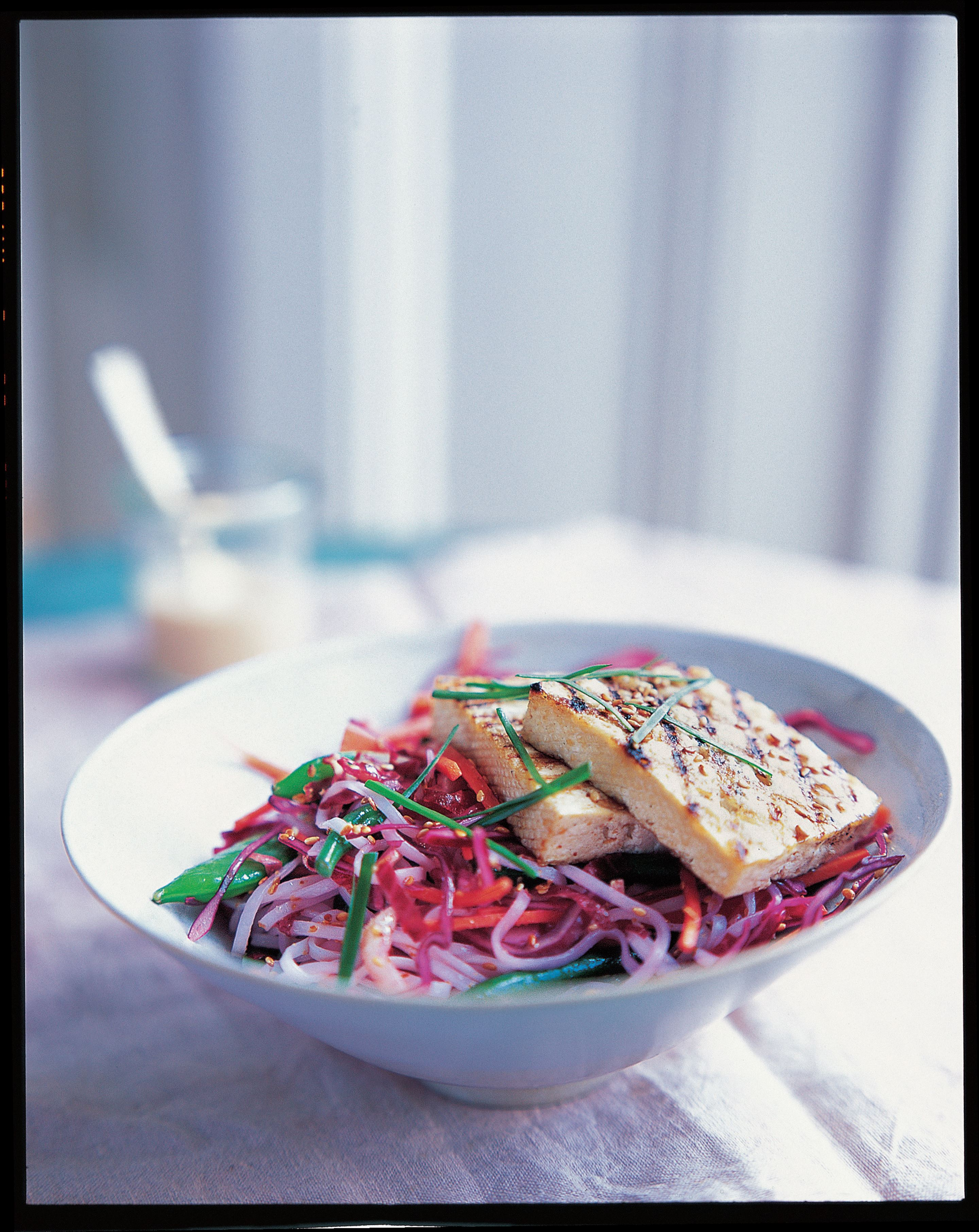 Grilled tofu, green bean, noodle and sesame salad