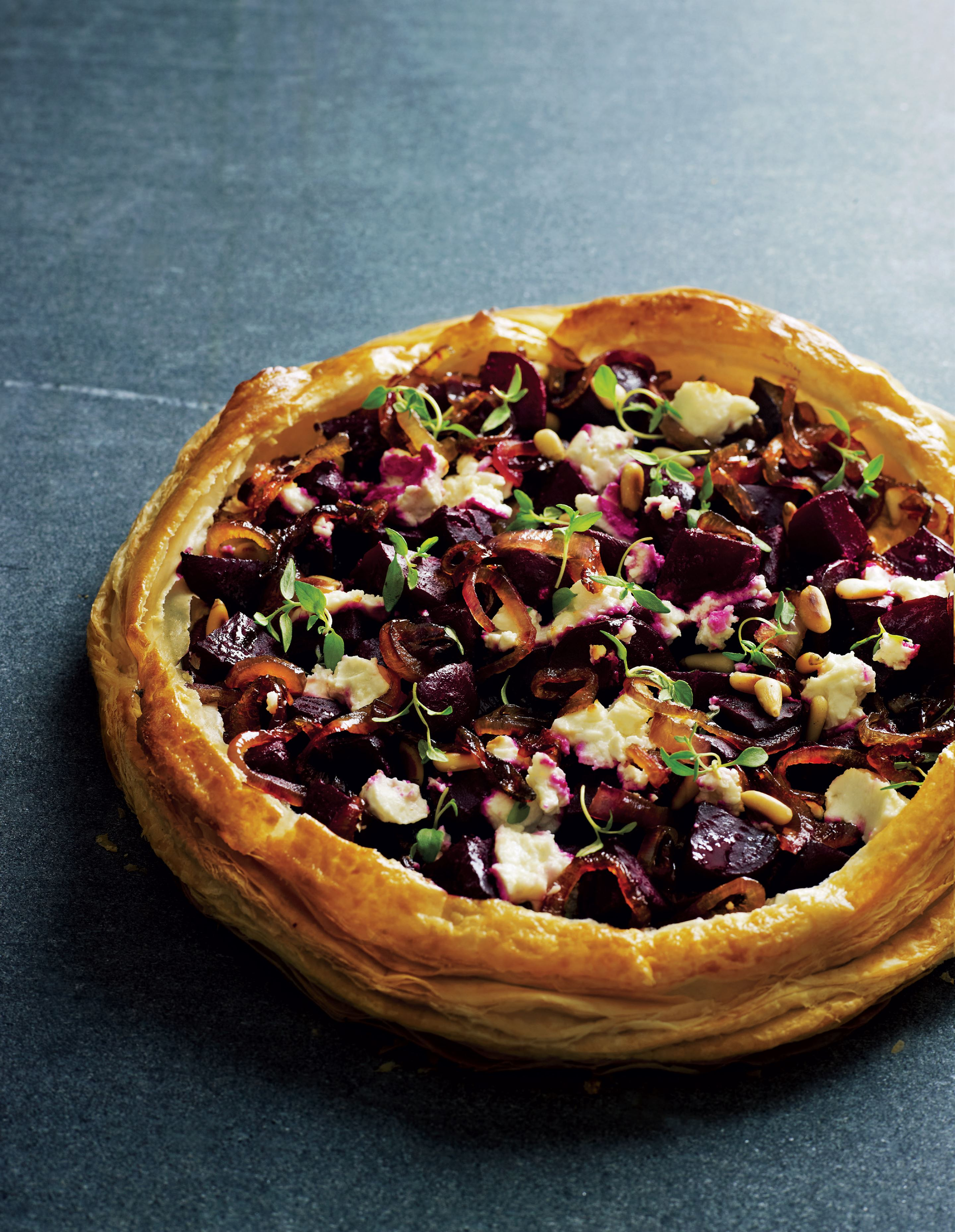 Beetroot, red onion and goat's cheese tart