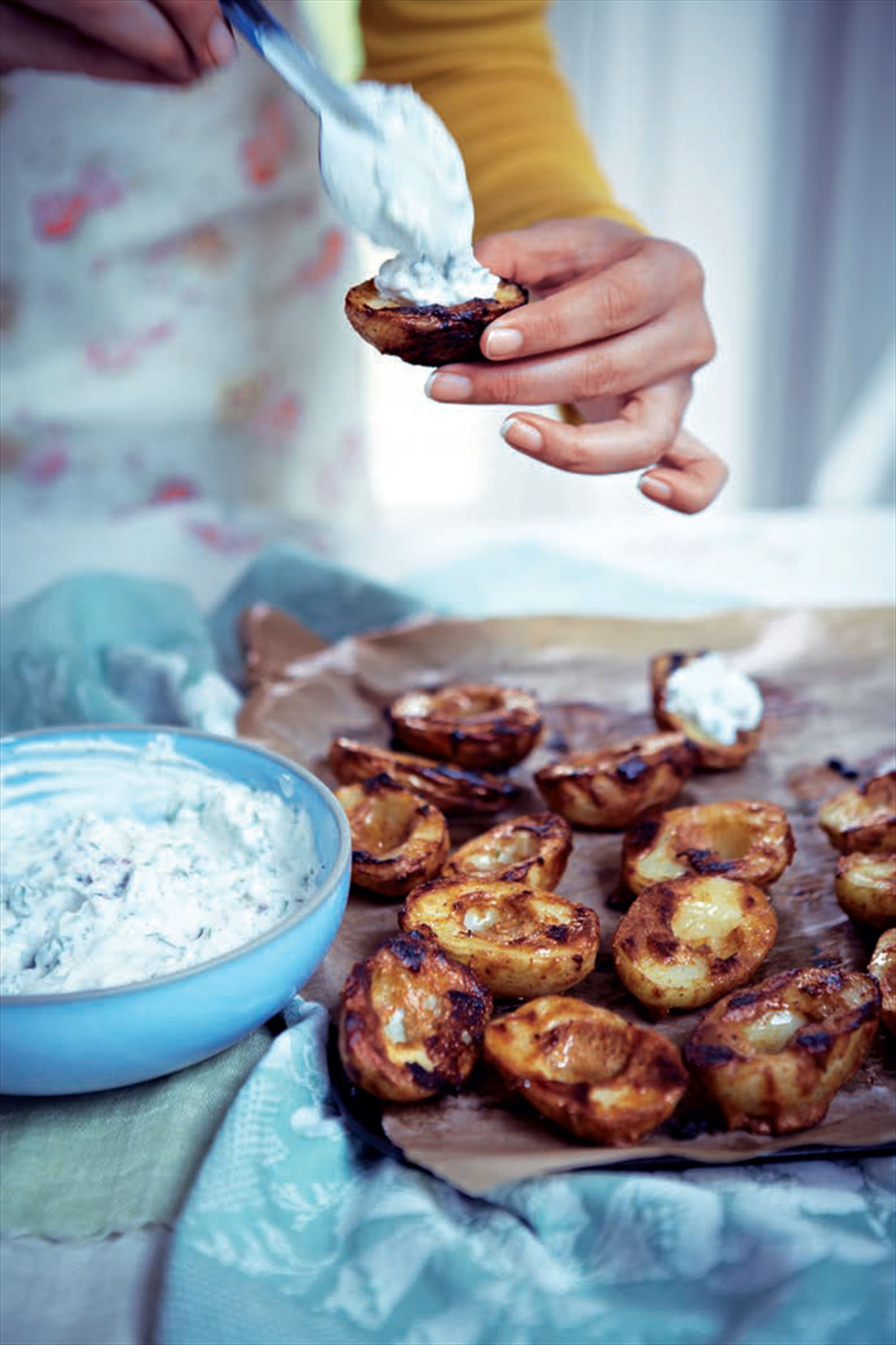 Tandoori baby potatoes with herb yogurt