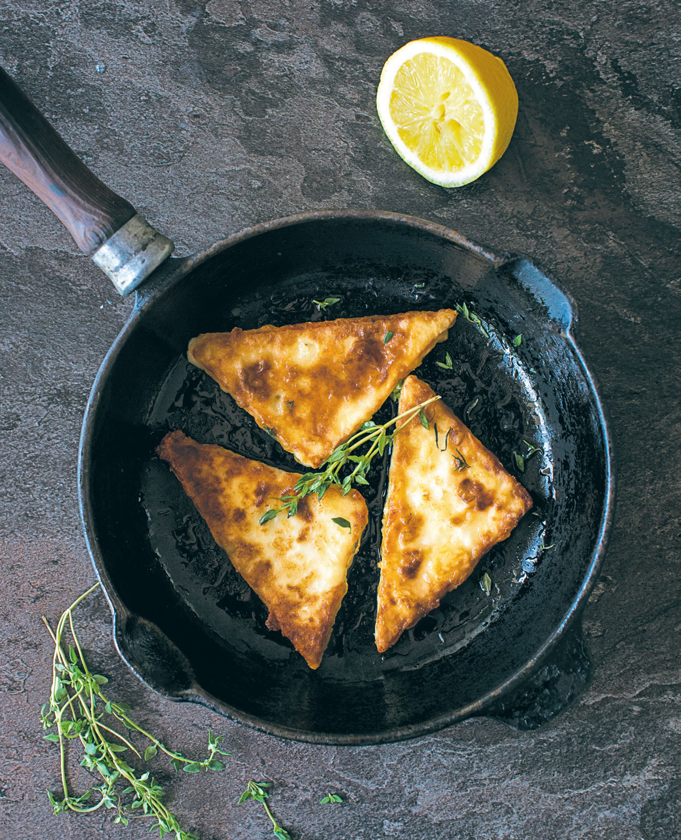 Honey-glazed saganaki