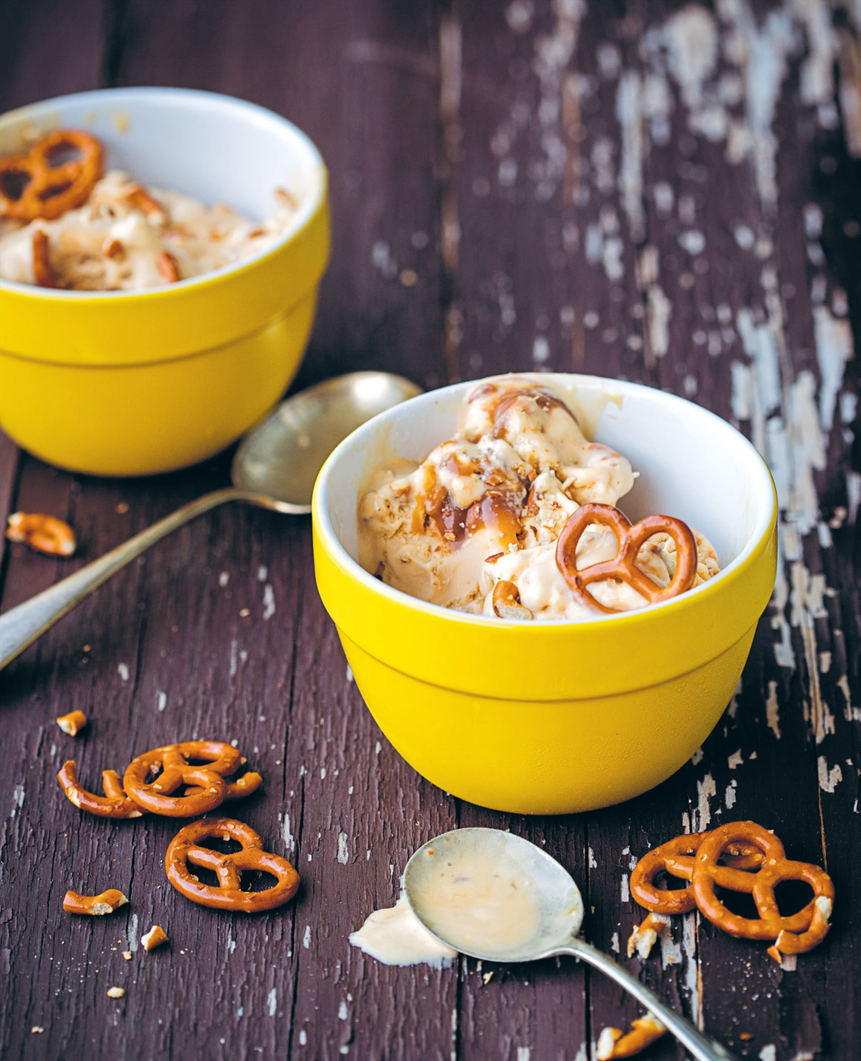 Pretzel and salted caramel ice cream