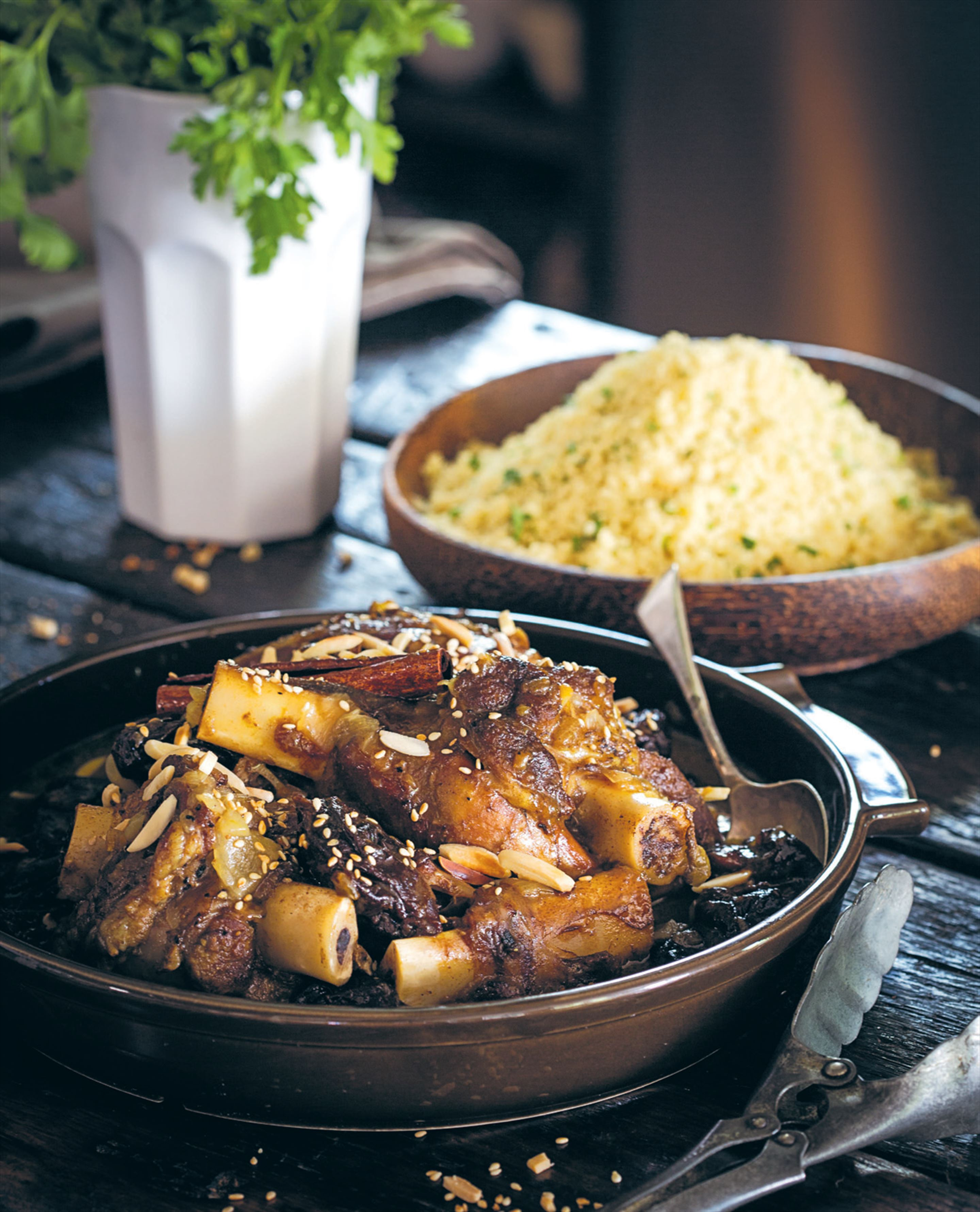 Lamb tagine with prunes and toasted almonds