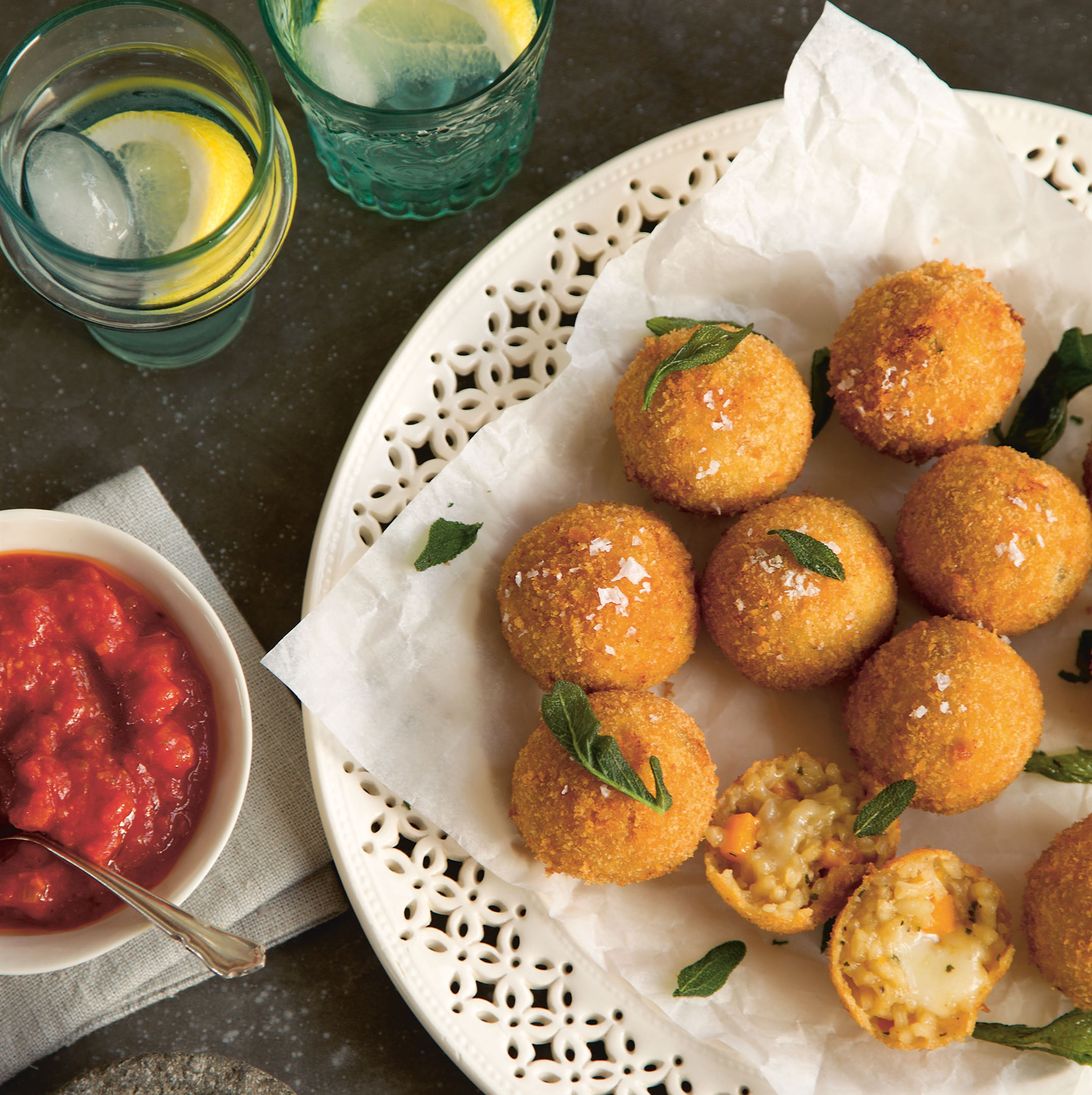 Pumpkin, sage and taleggio arancini