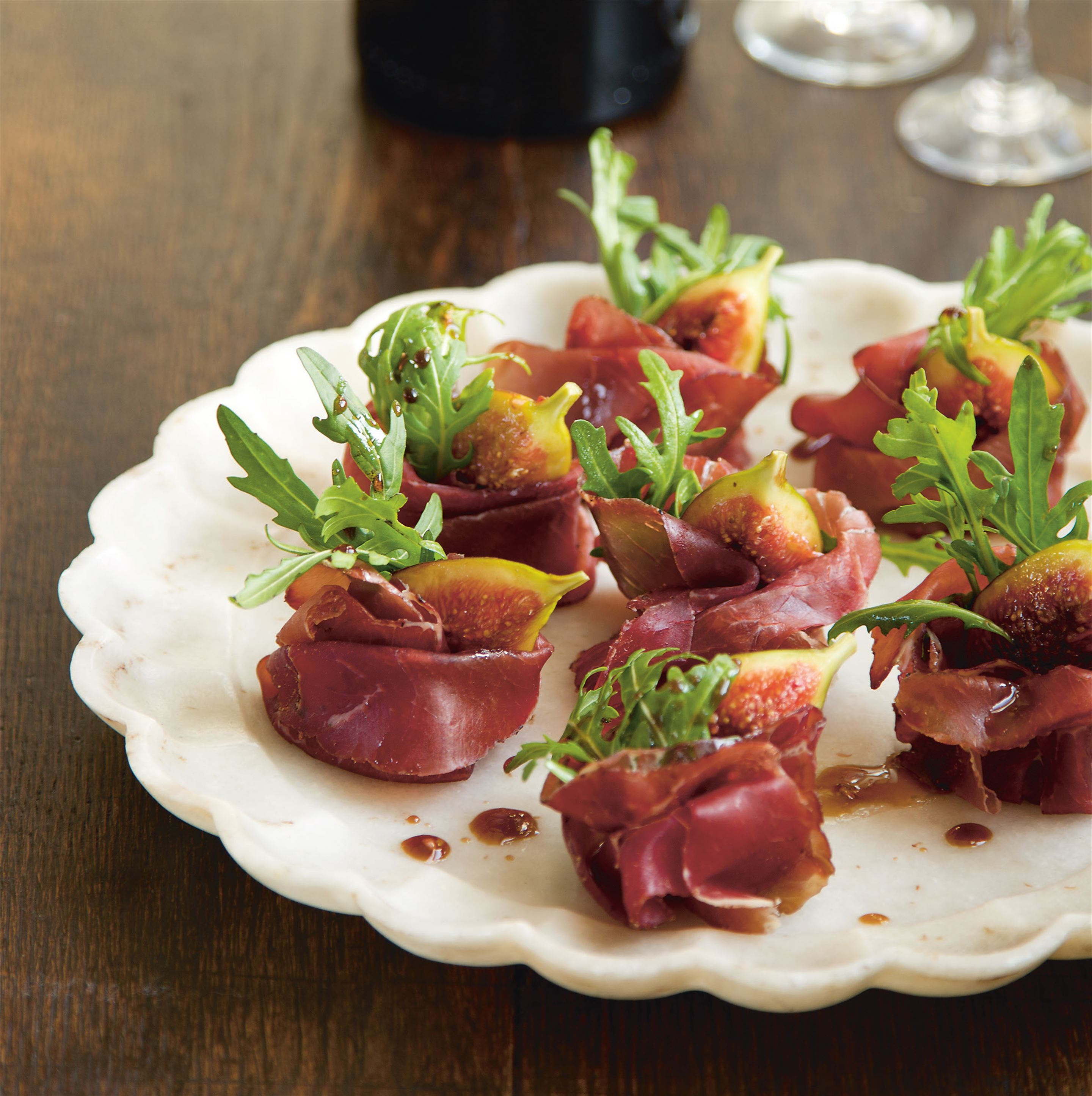 Truffled figs with bresaola and rocket