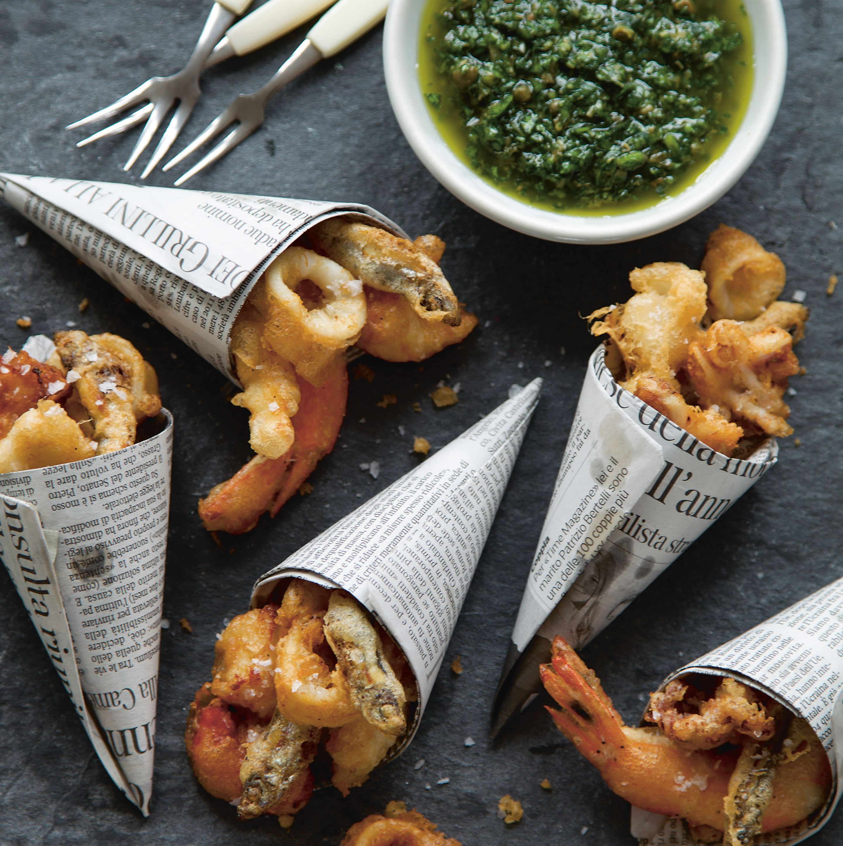Mini fritto misto cones with salsa verde