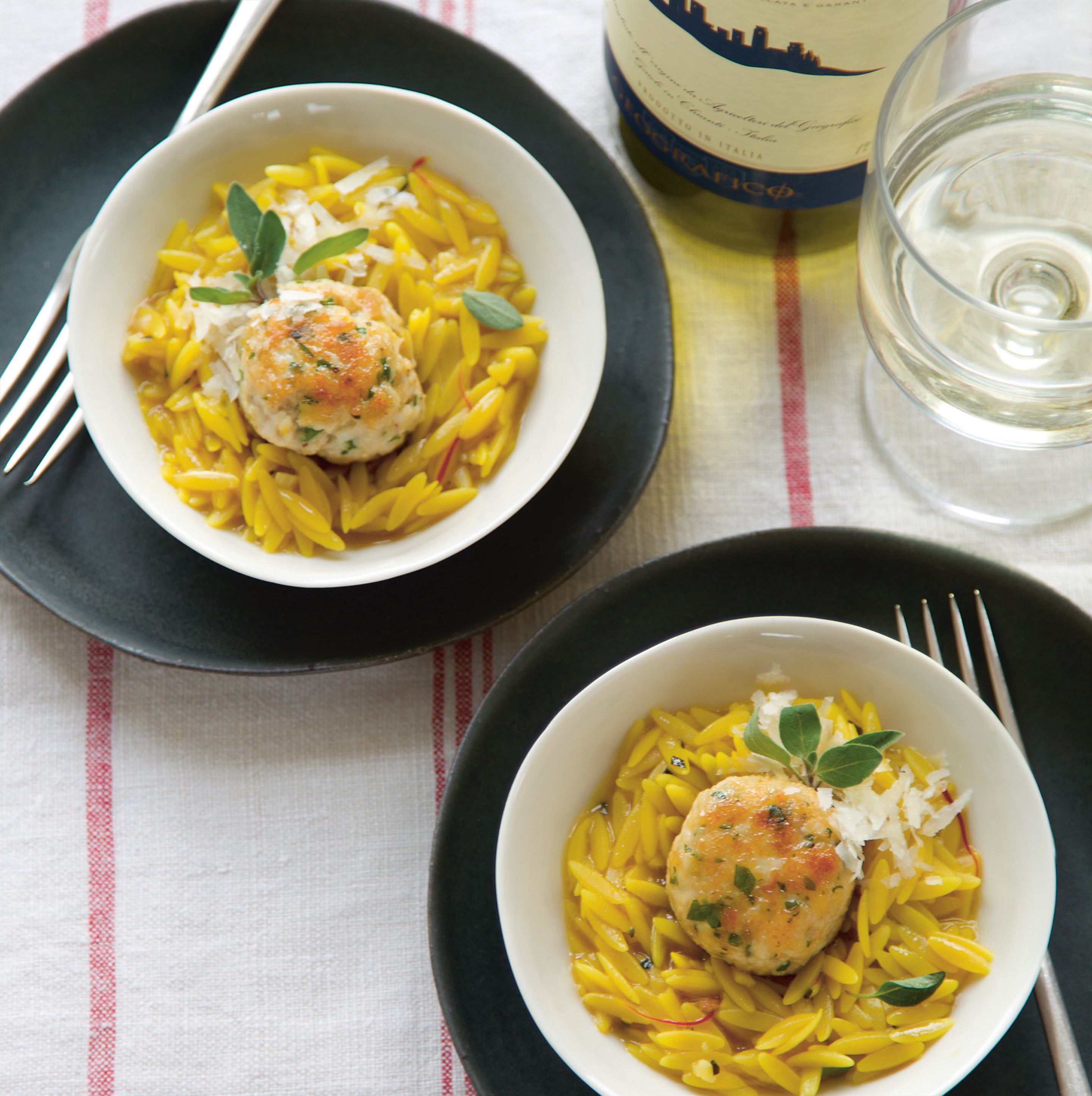 Chicken polpette with saffron orzo