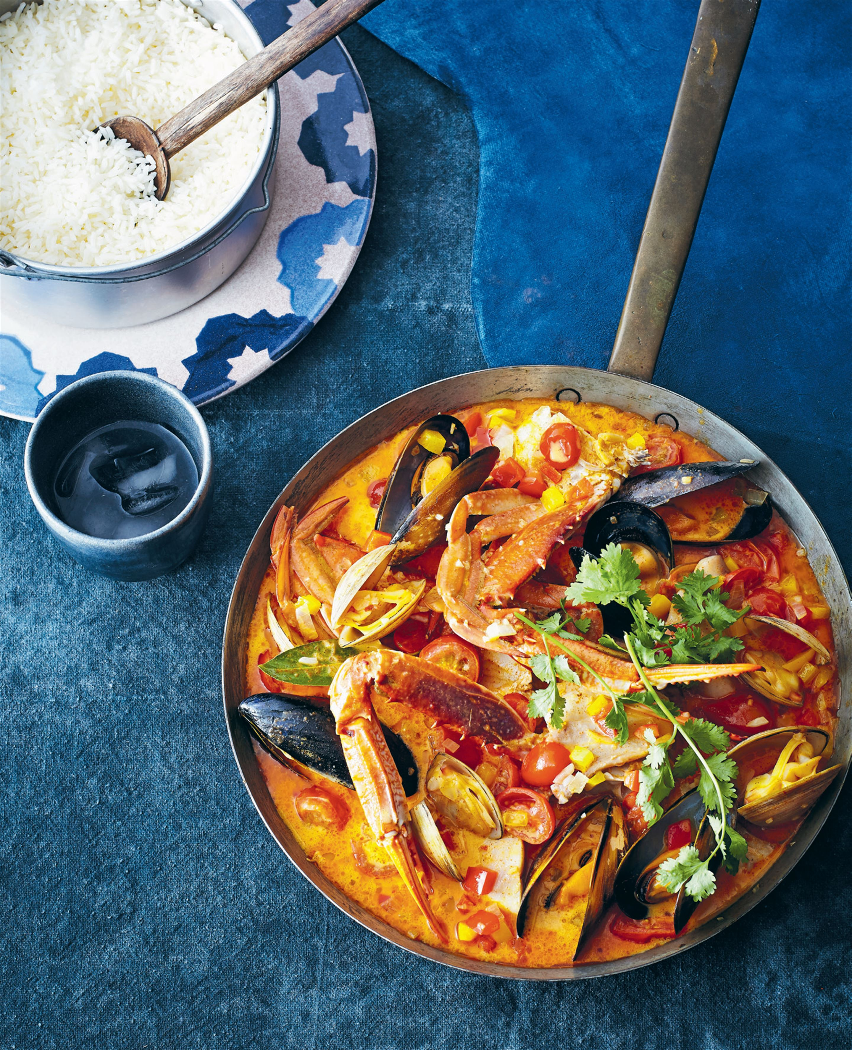 Moqueca with crab, mussels and clams
