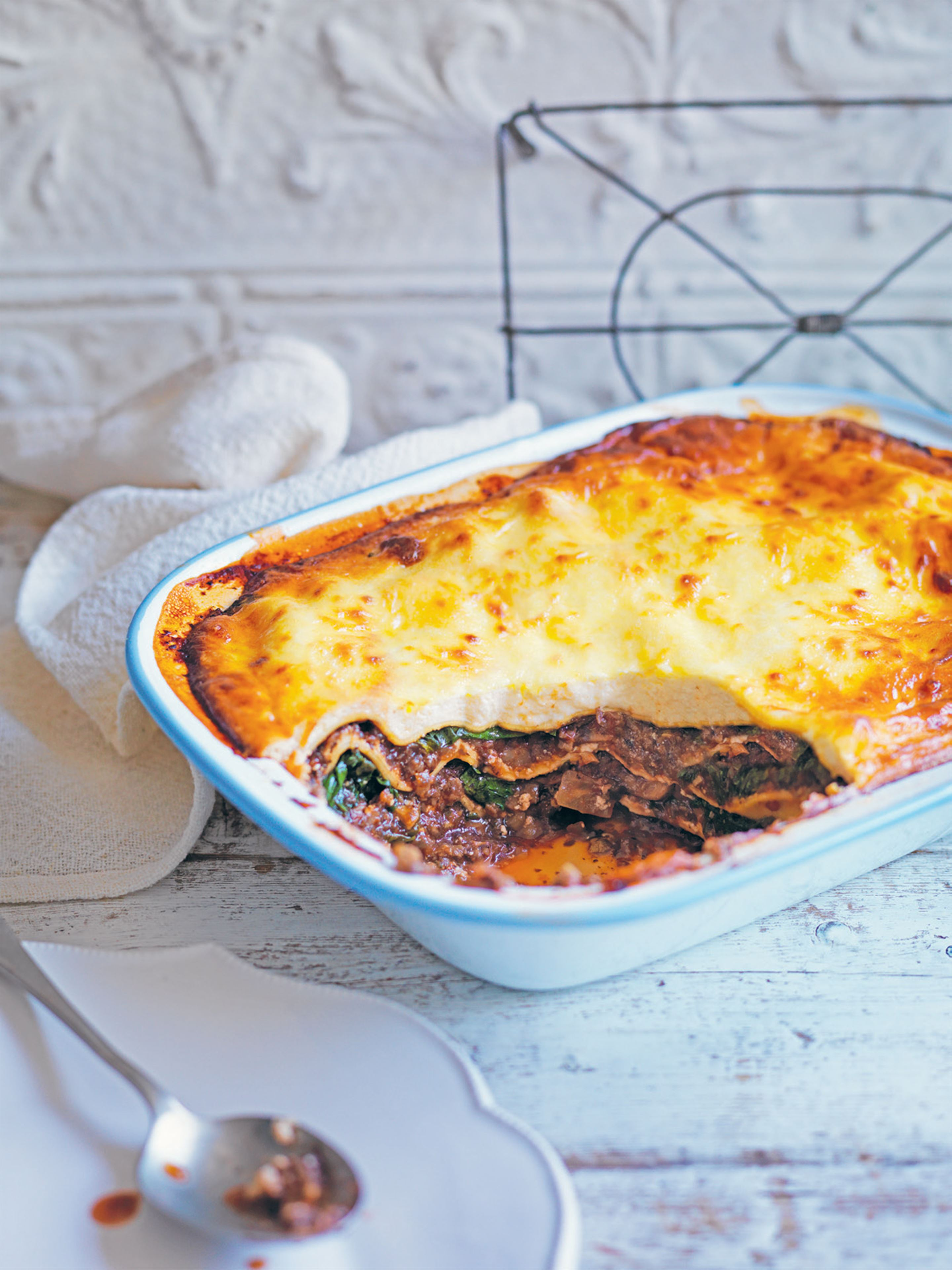 Mushroom and spinach lasagne