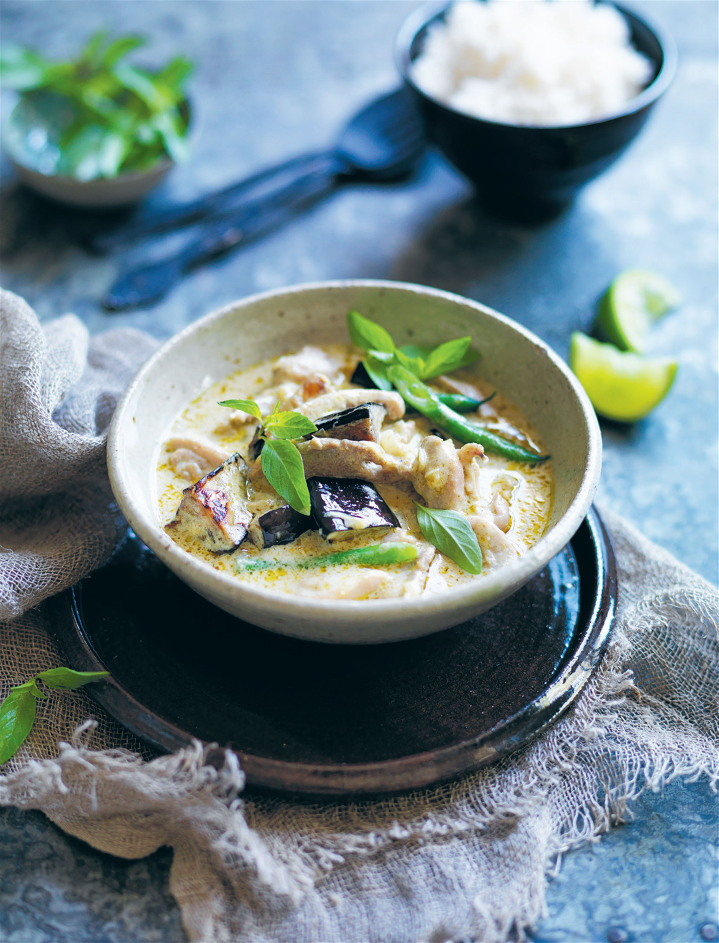 Thai green chicken curry with eggplant