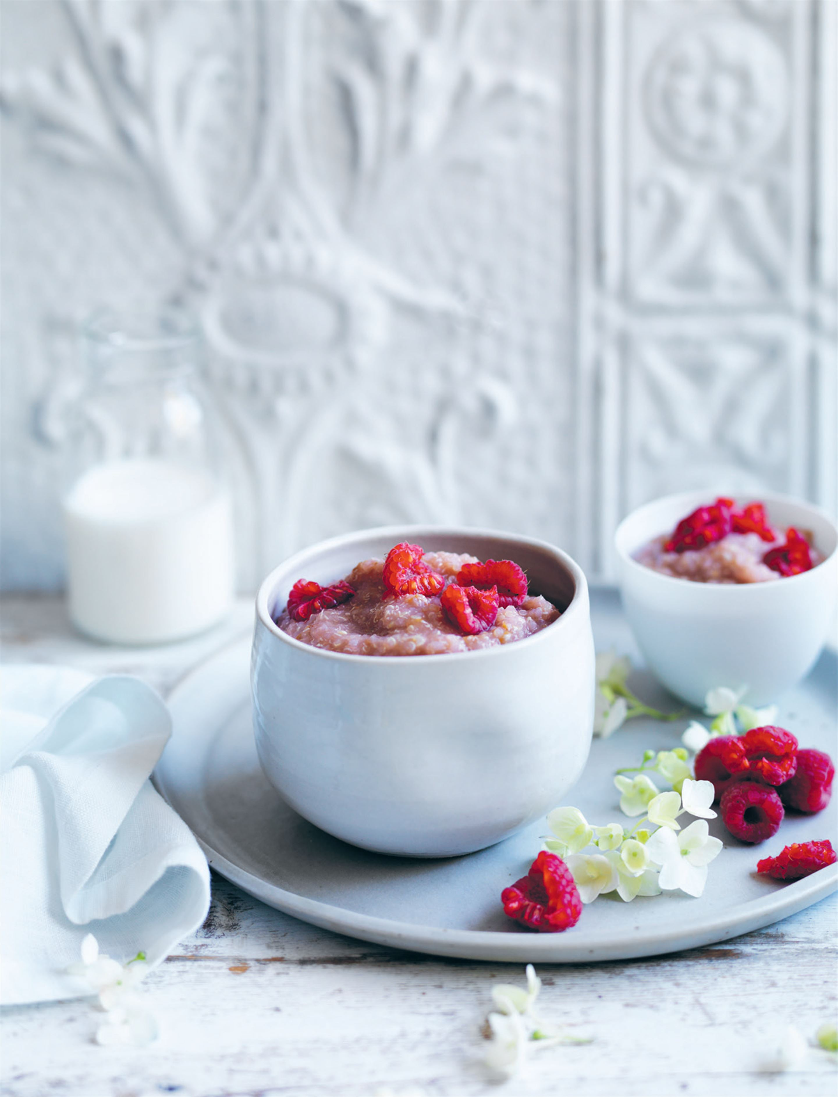 Raspberry and pear quinoa porridge