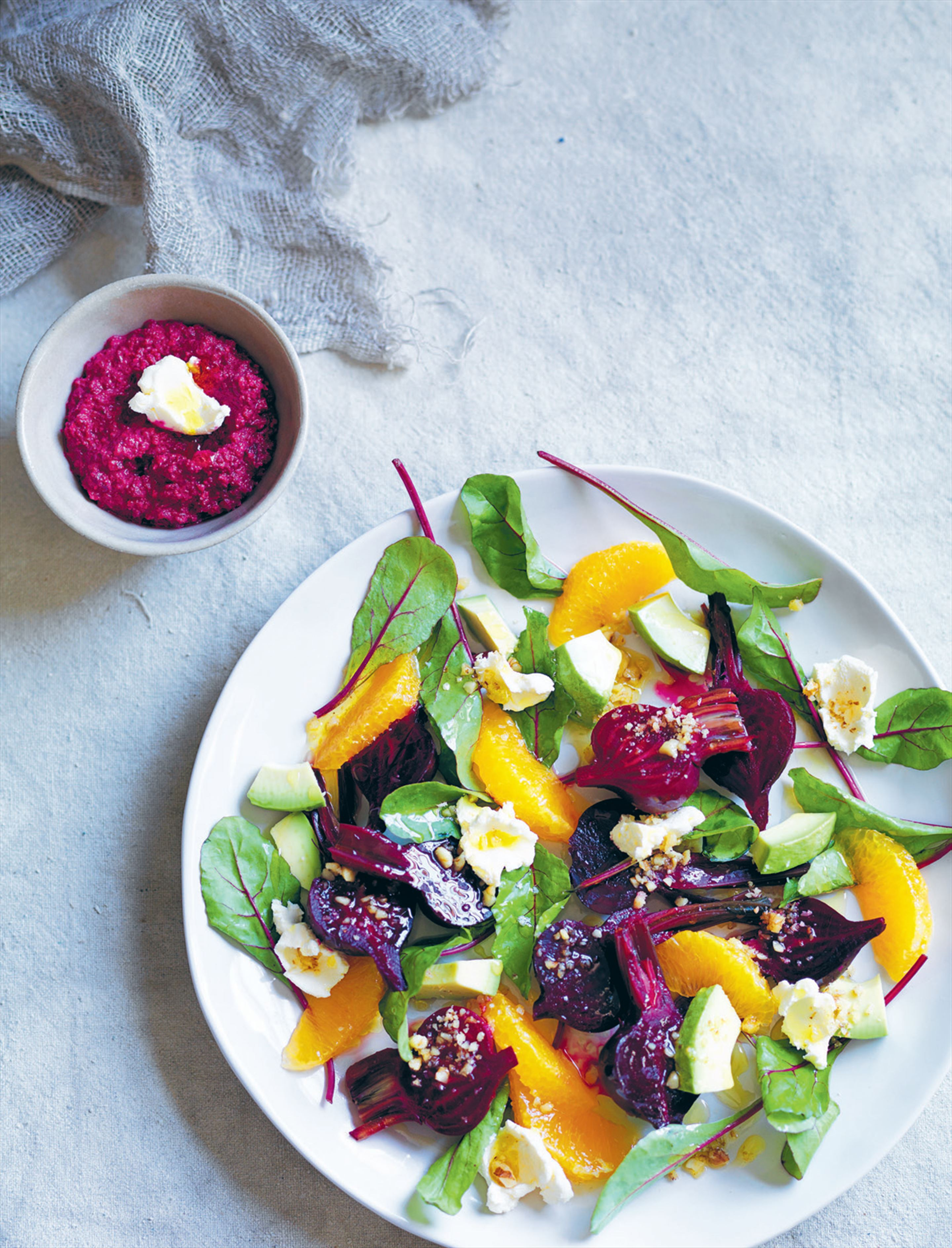 Baby beetroot salad with orange, avocado and walnuts