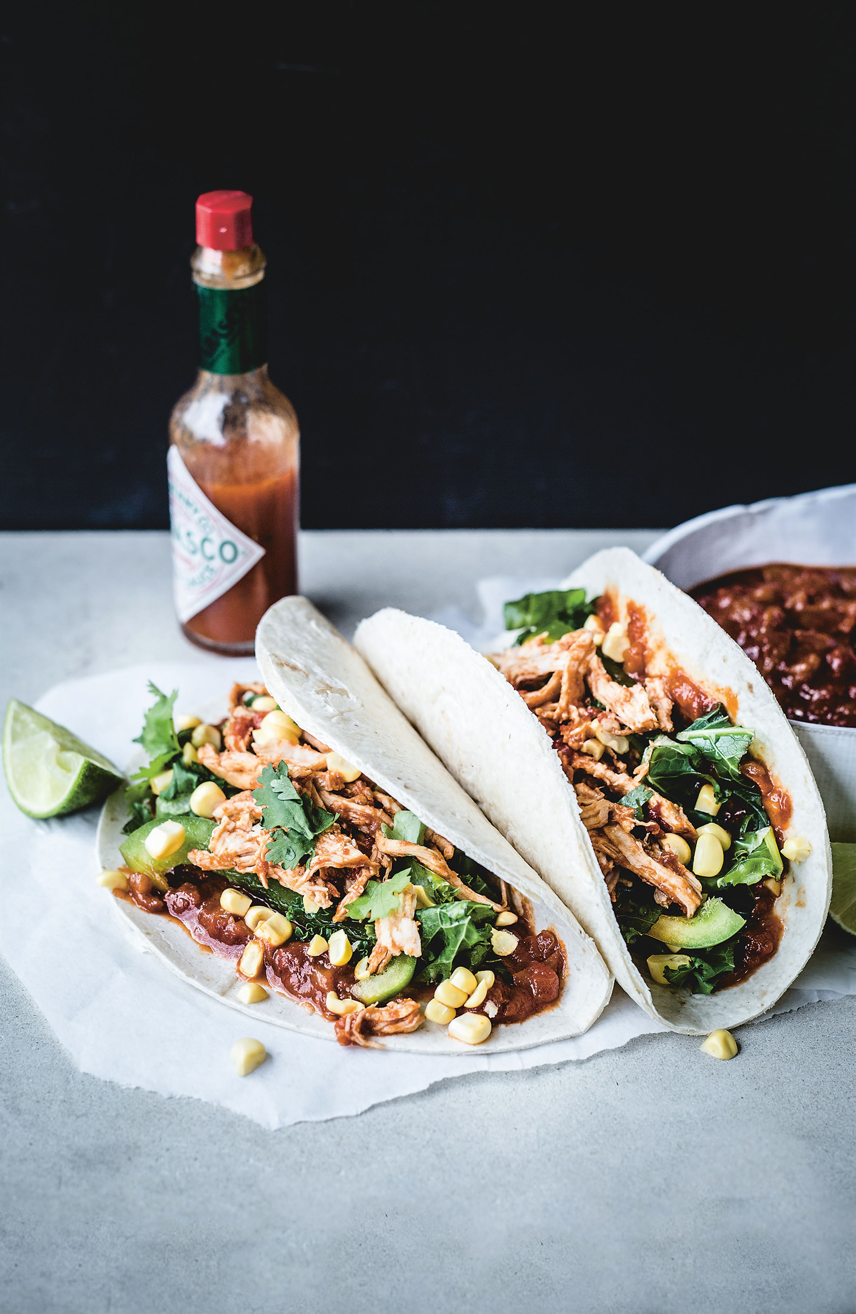 Chicken tacos with peach BBQ sauce