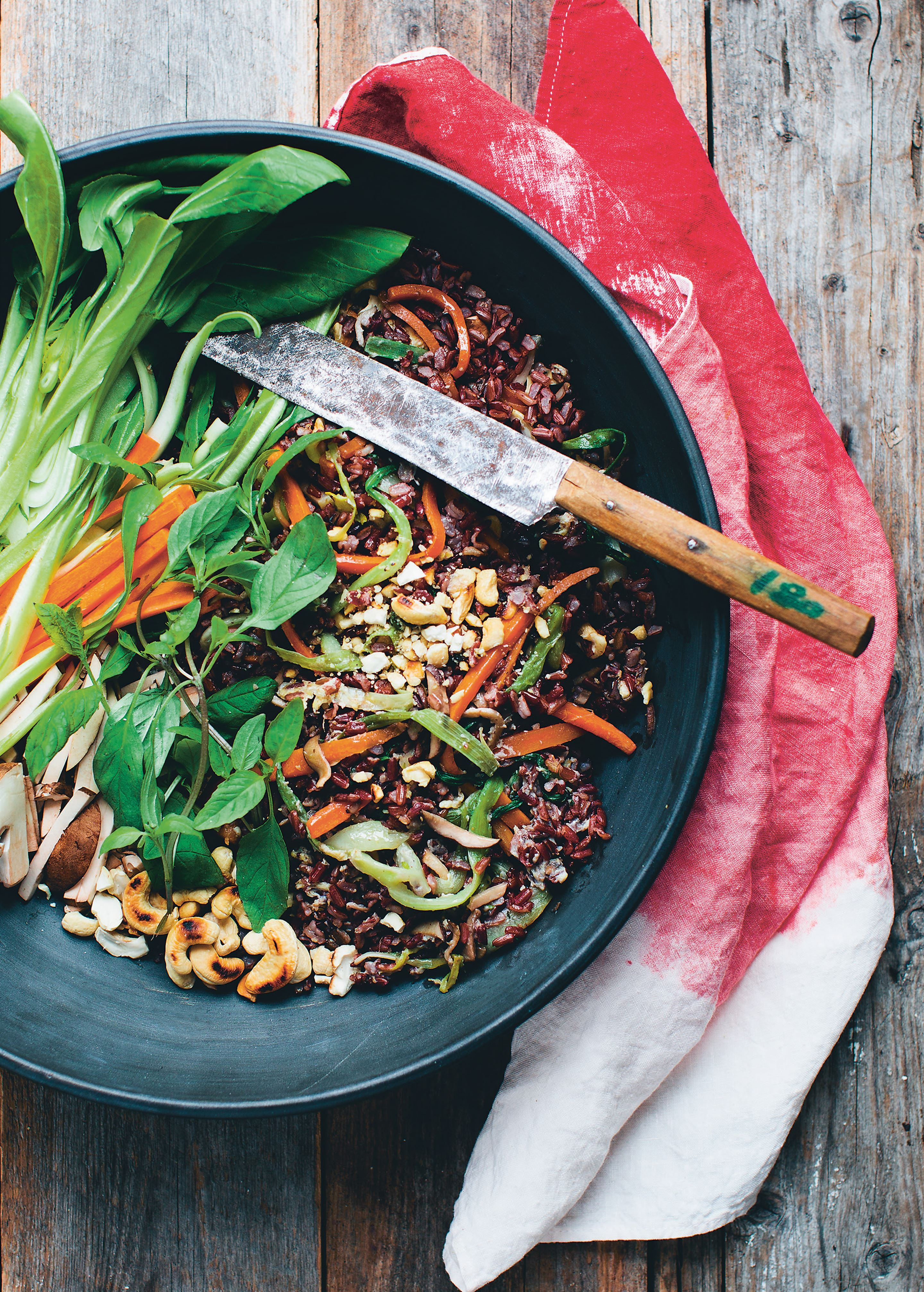 Stir fried red rice