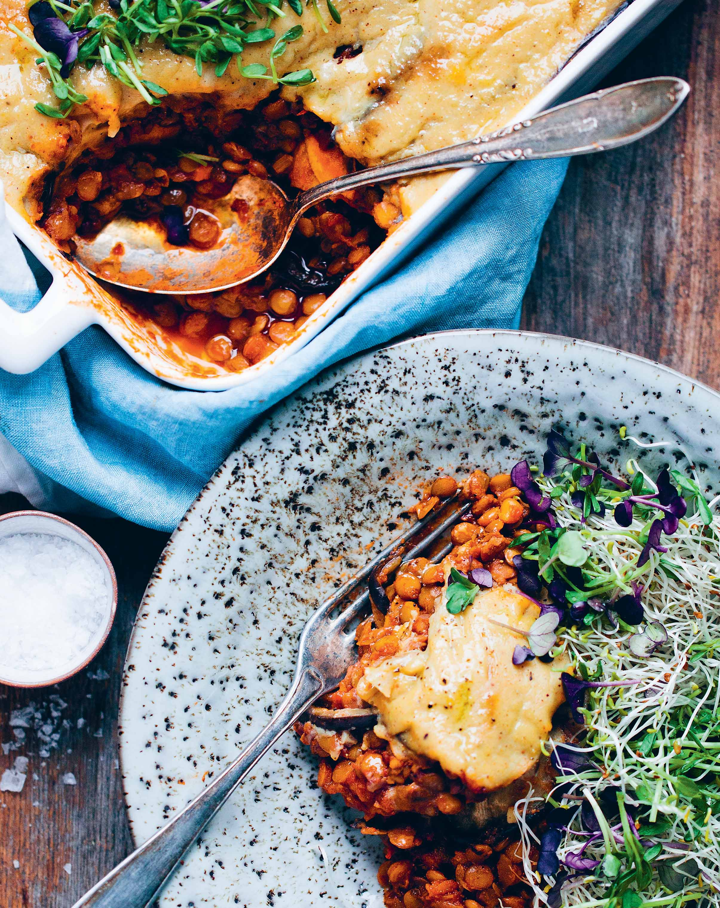 Vegan sweet potato and aubergine moussaka