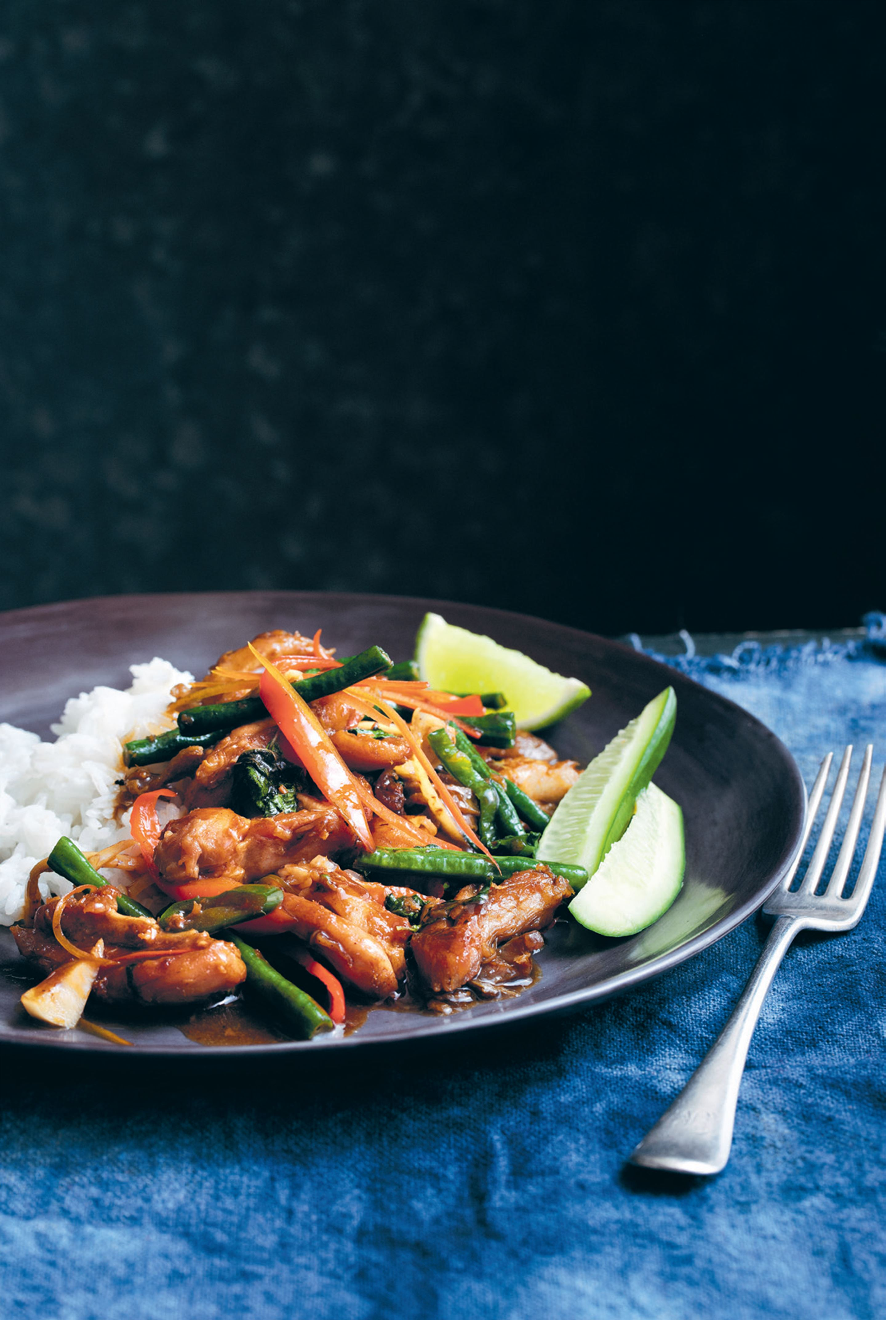 Stir-fried chicken with basil