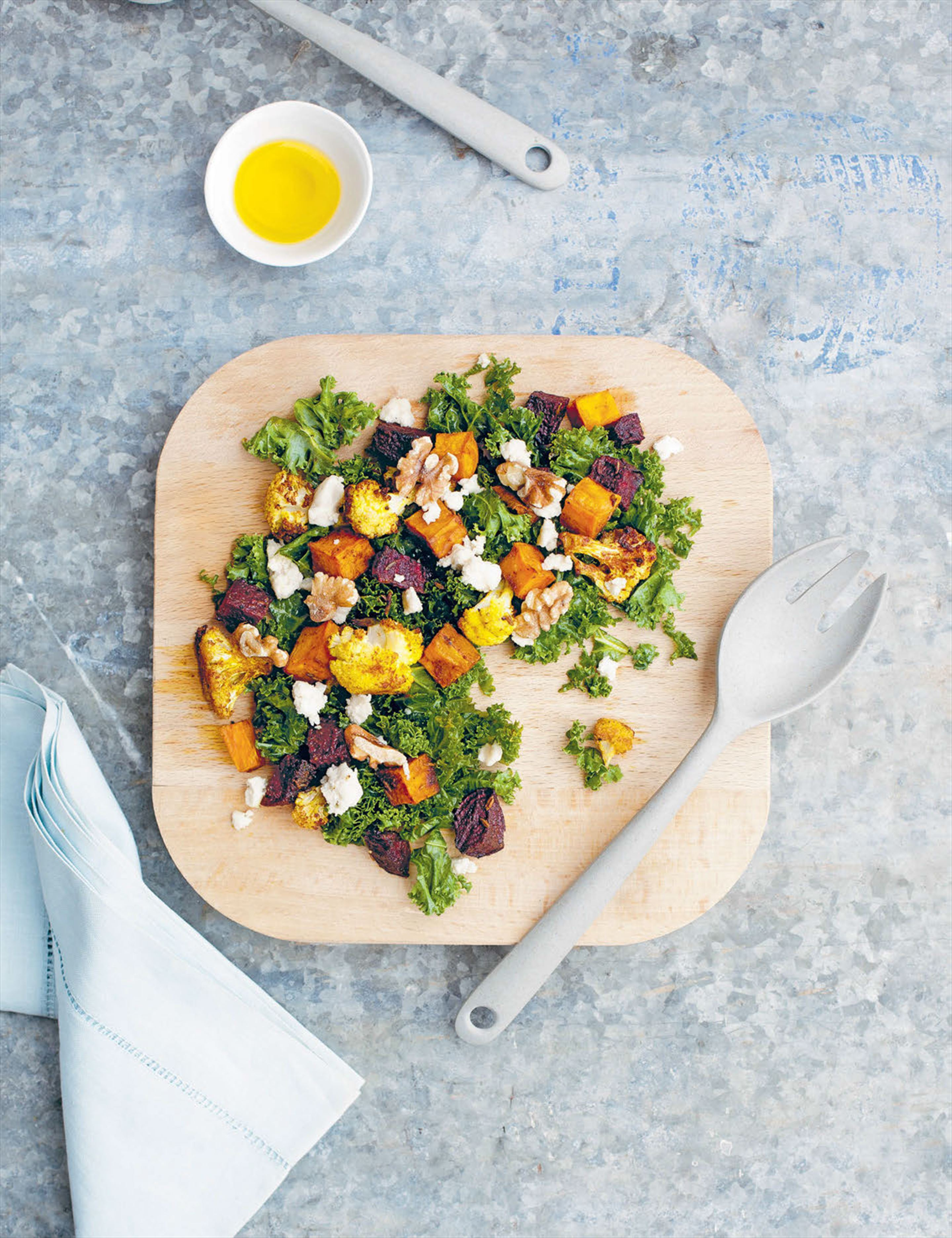 Roasted vegetable salad with cashew 'goat's' cheese