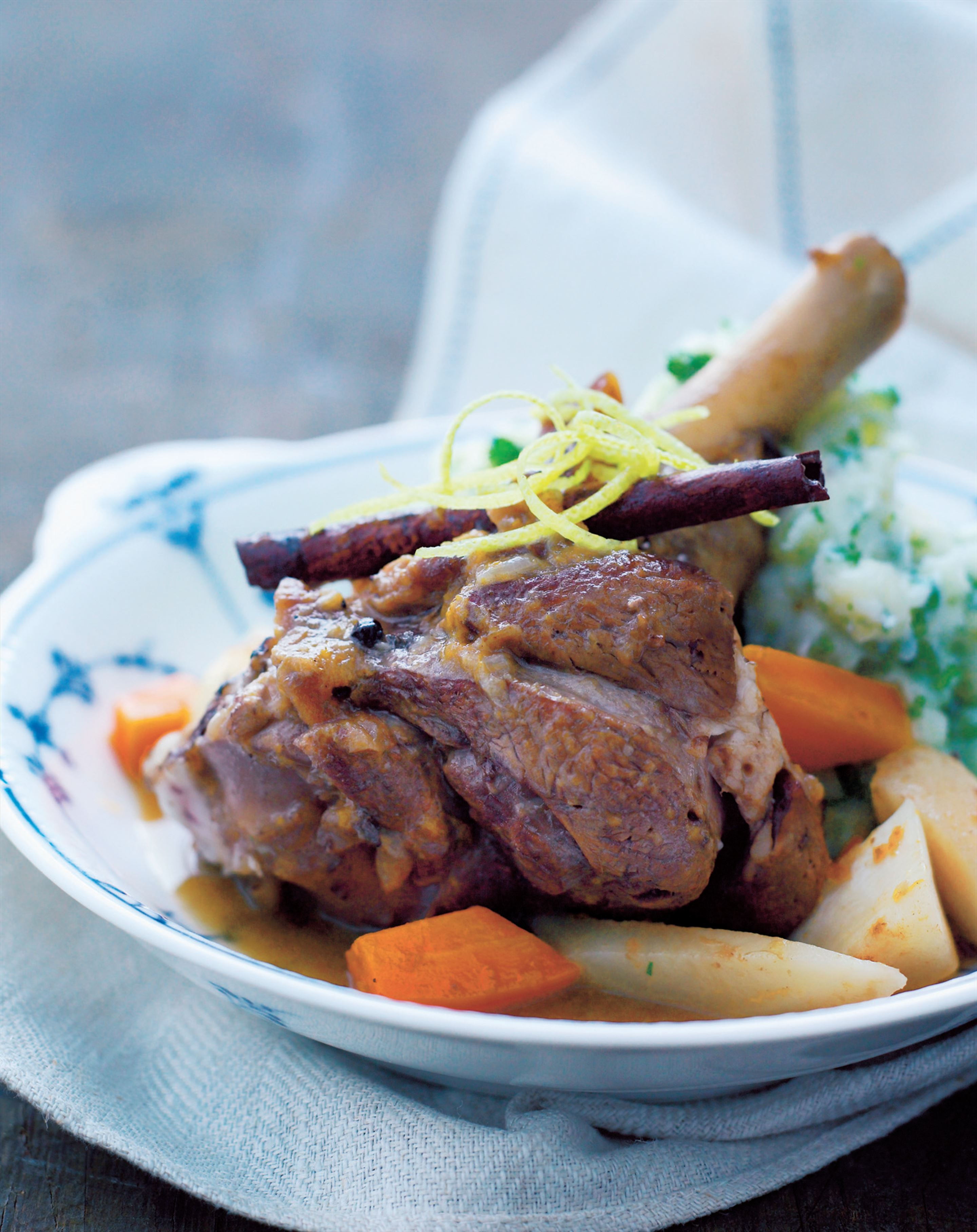 Lamb shanks with apricots and spices and parsley mash