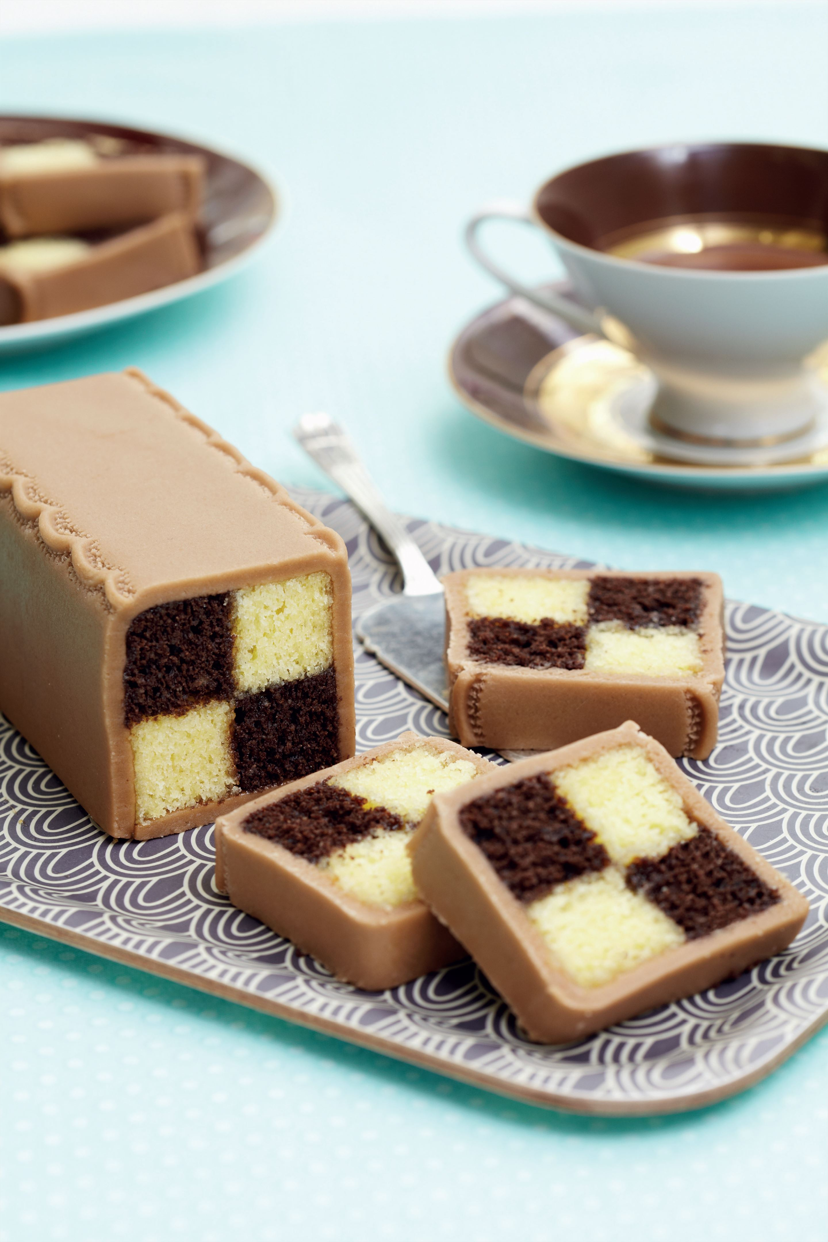 Chocolate battenberg cake