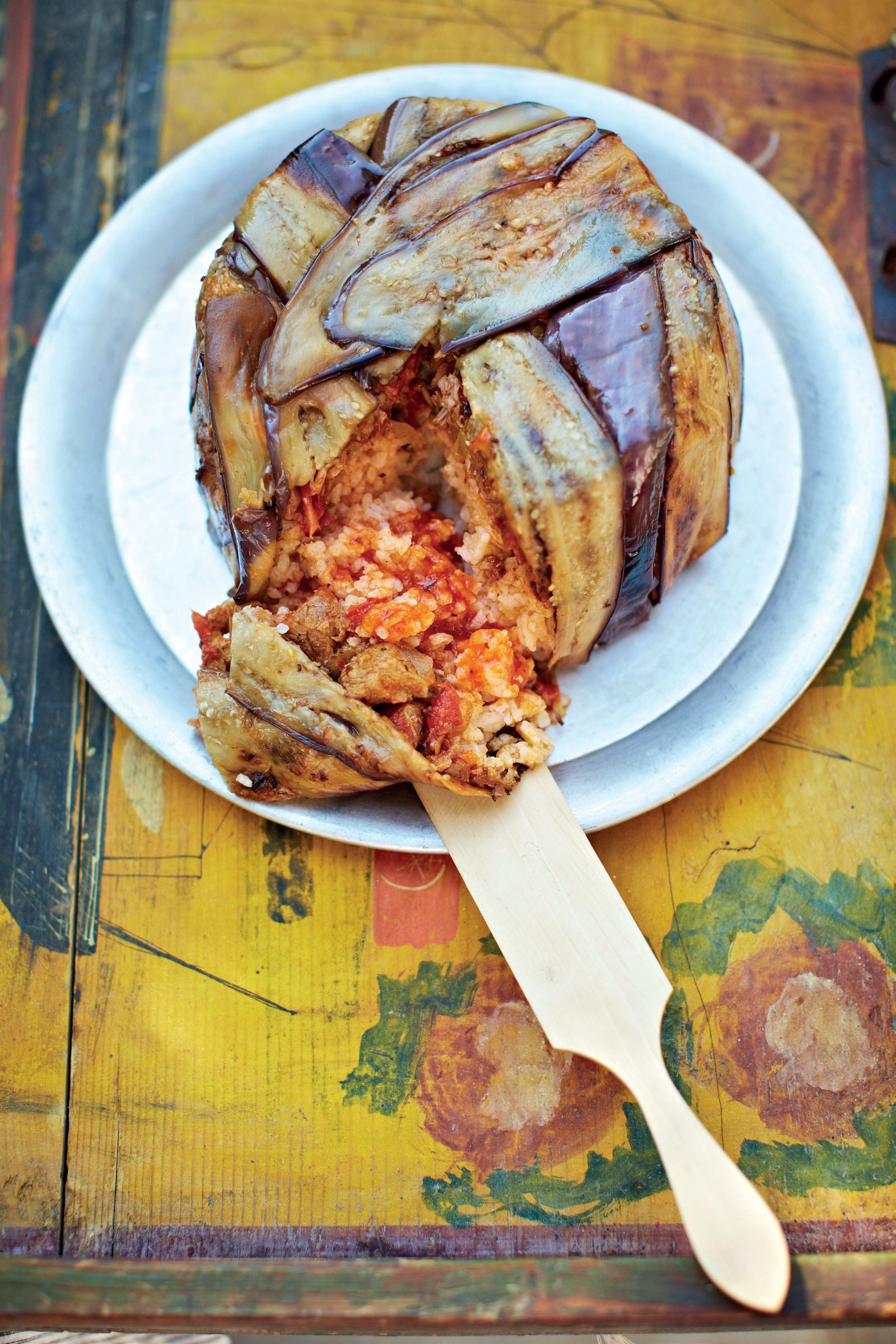 Aubergine and veal layered pilaf