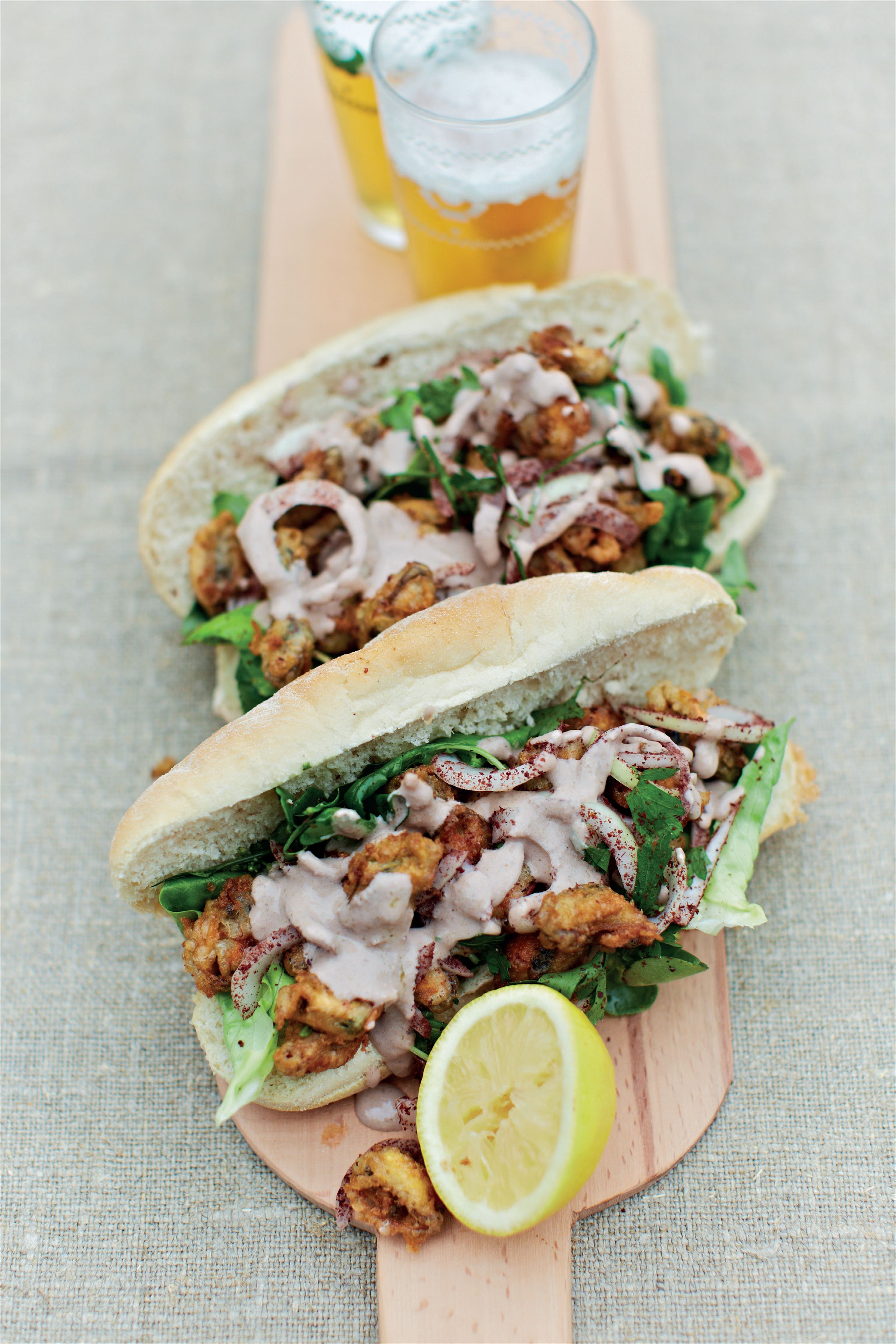 Fried mussel rolls, or Turkish po-boys