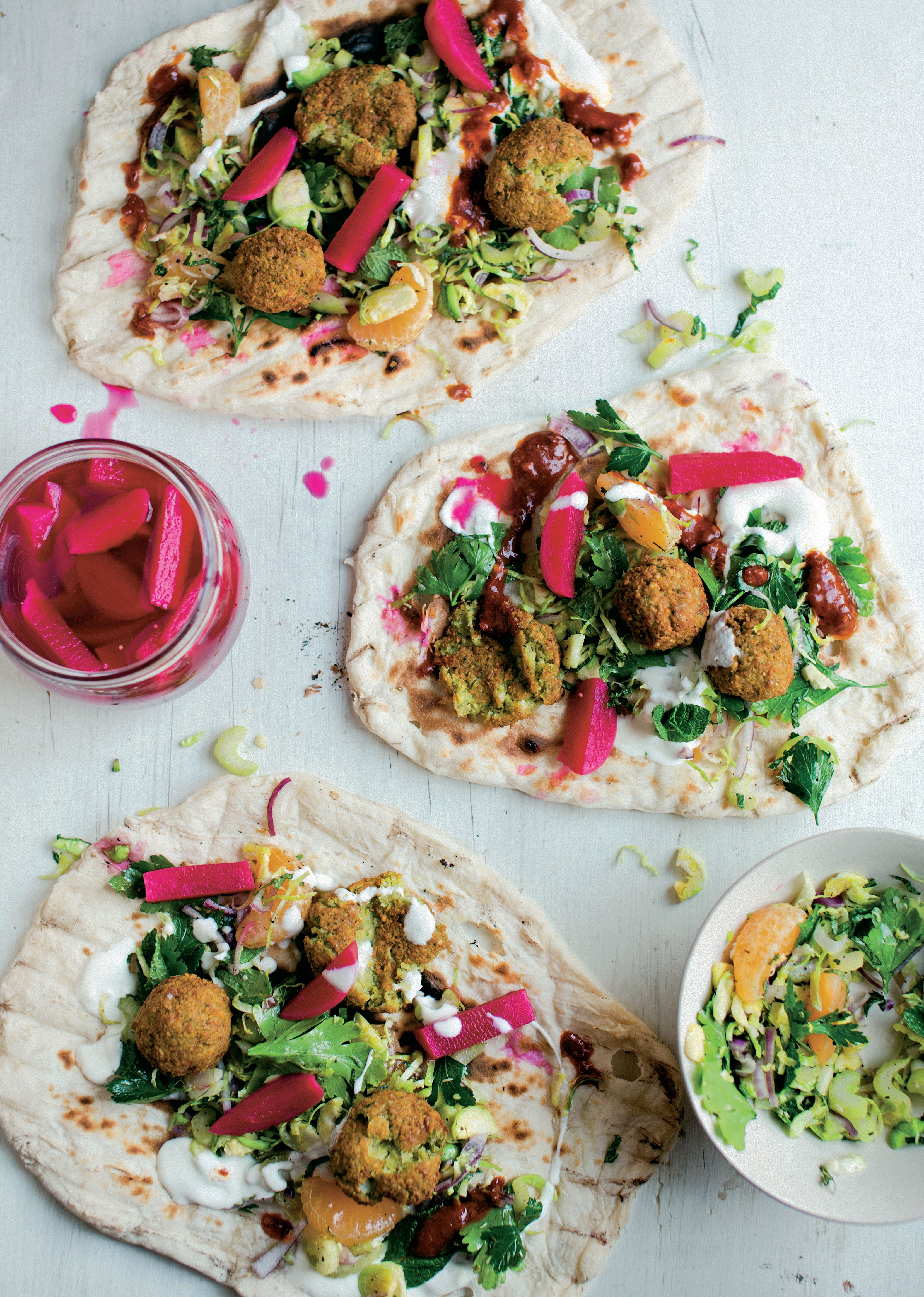 Falafel with winter slaw and yogurt