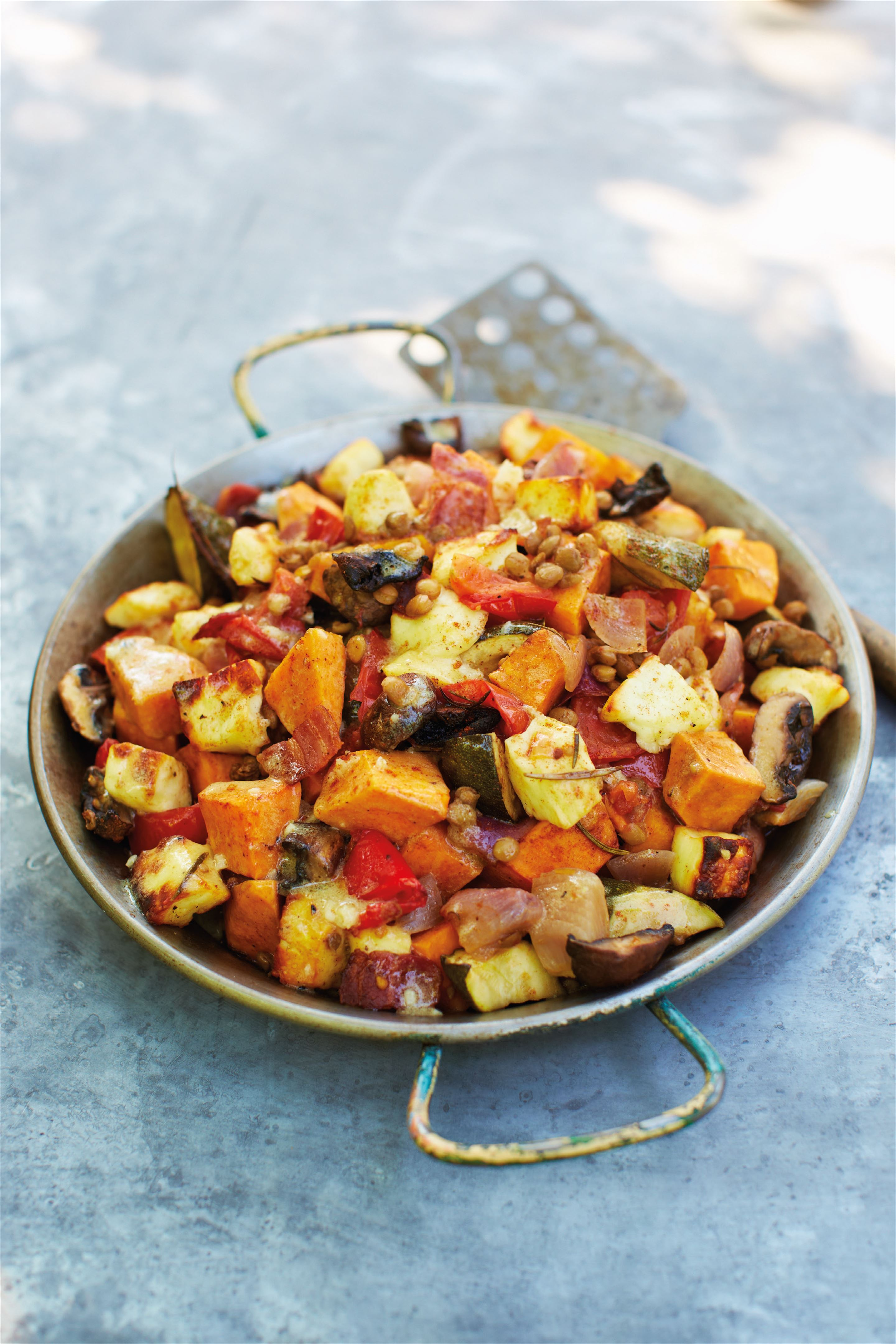 Mark's moreish roasted vegetable, lentil and halloumi salad with bacon rashers