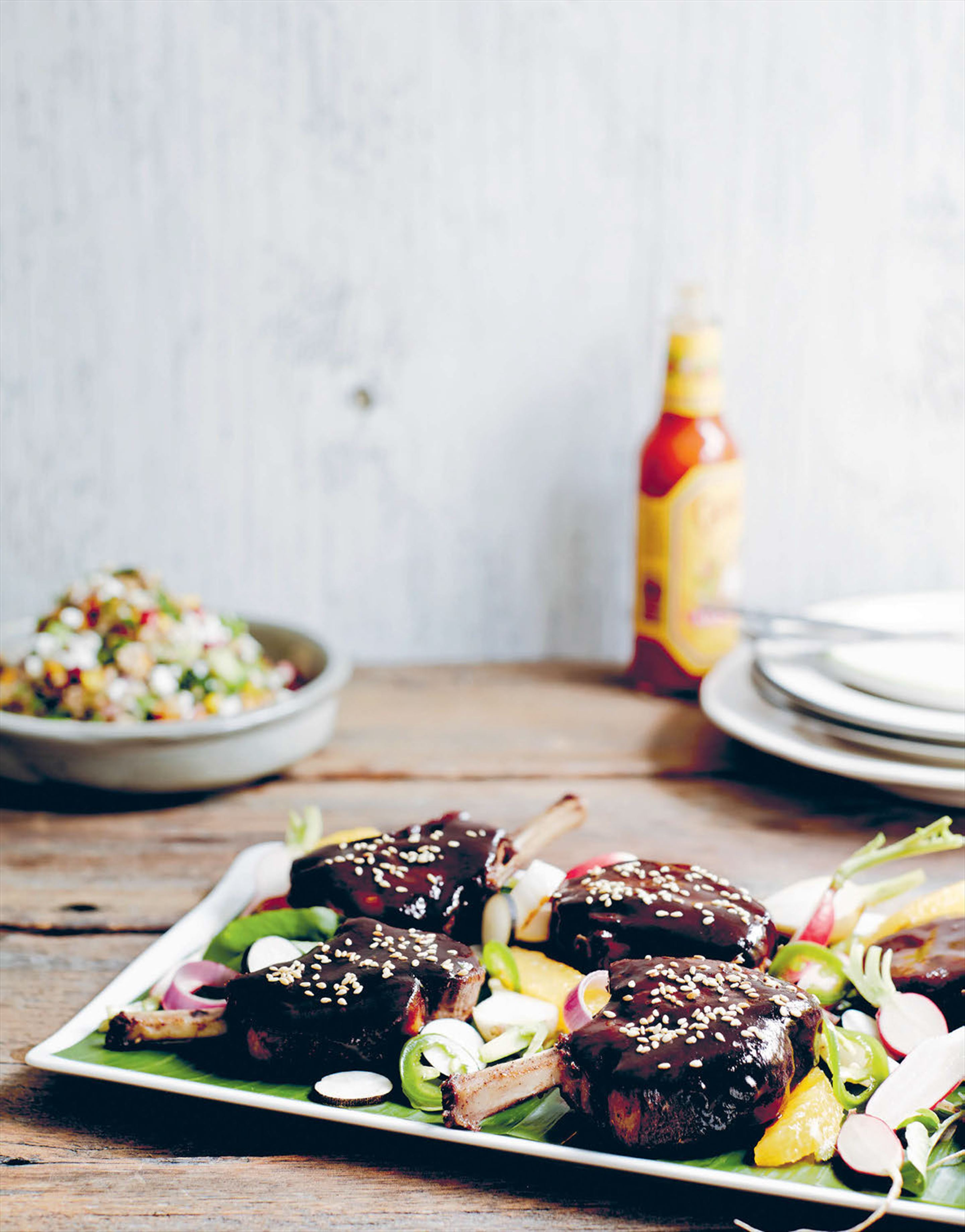 Glazed Mexican spiced lamb chops with ancient grains & pickles