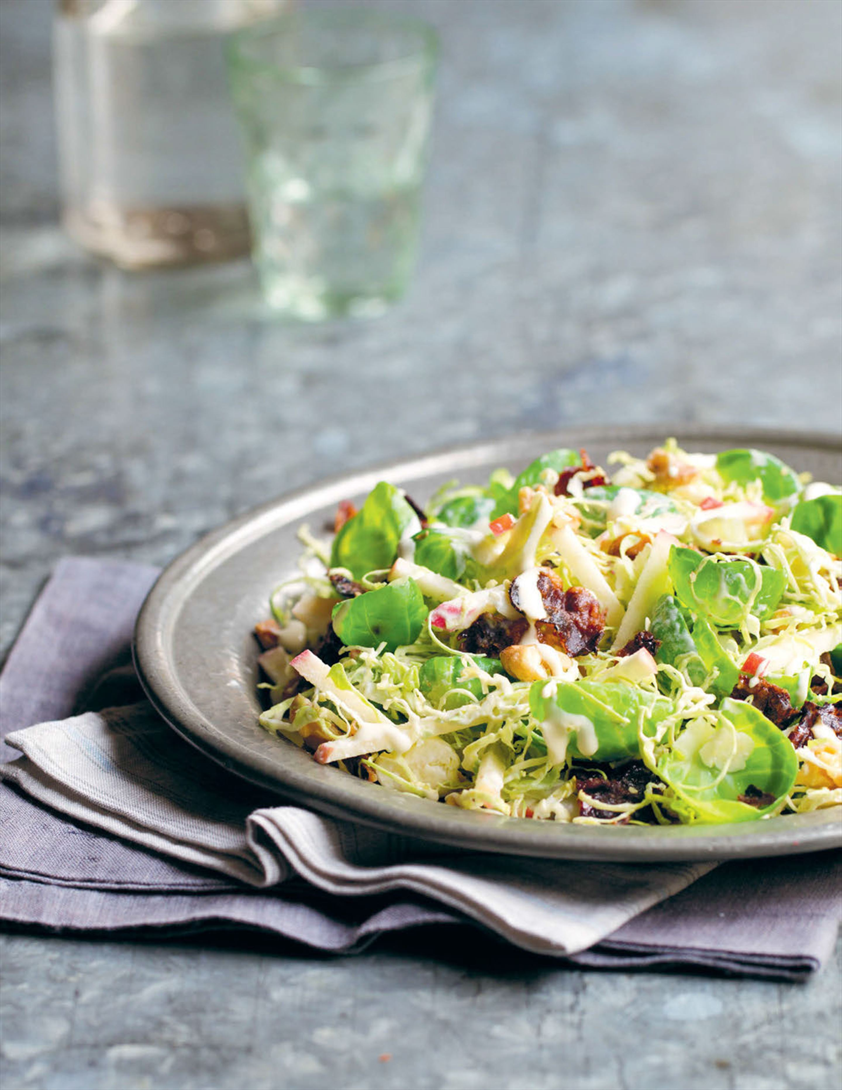 My Waldorf-style salad of brussels sprouts and guanciale