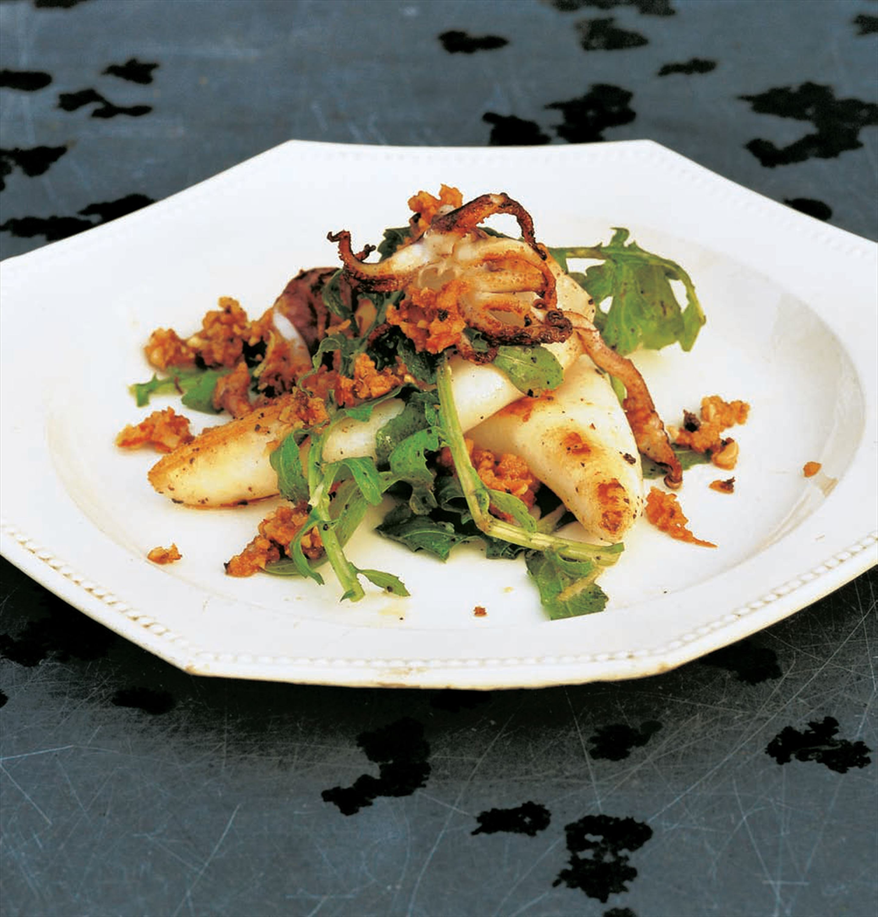 Grilled squid with rocket and romesco