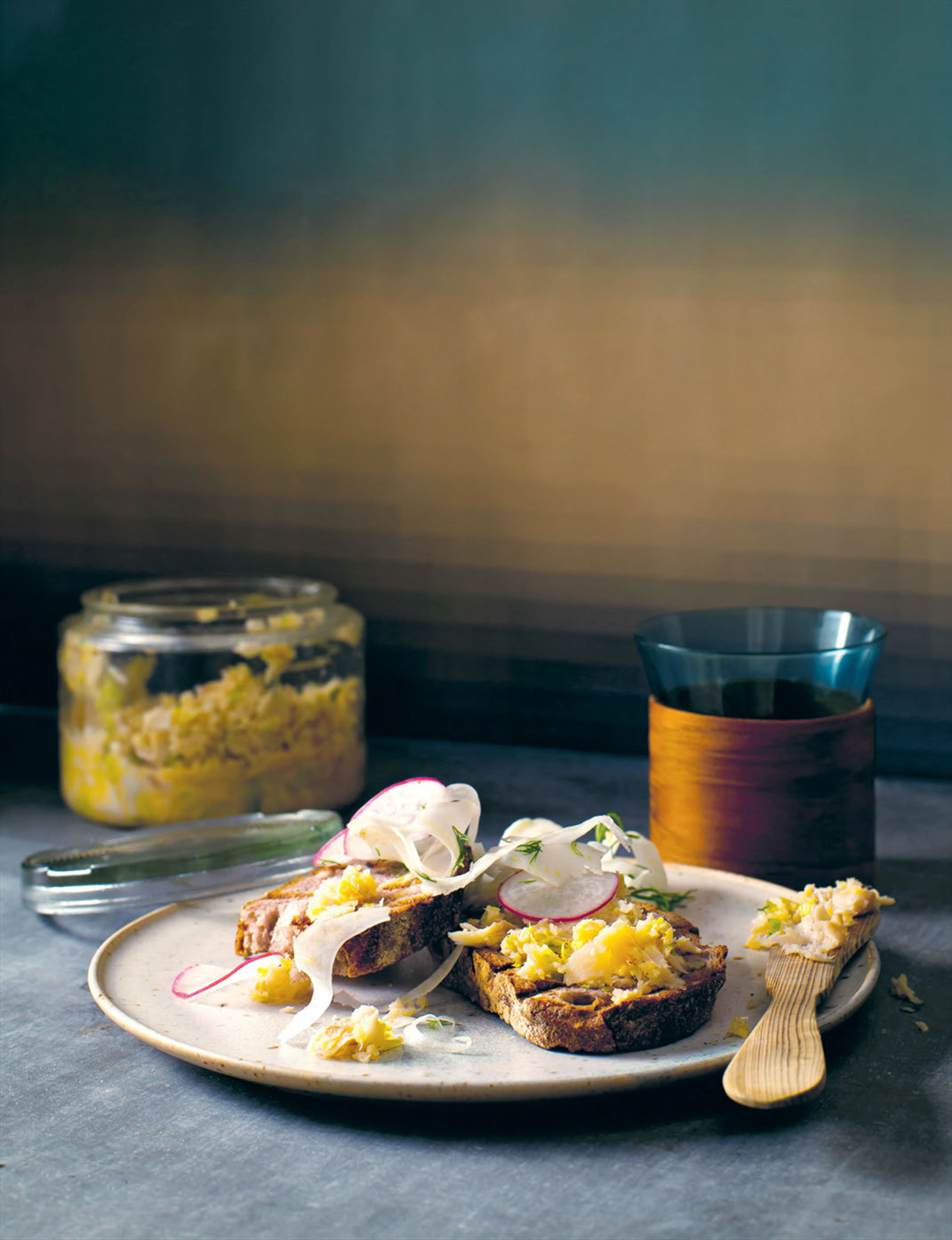 Potted trout with pickled fennel on rye