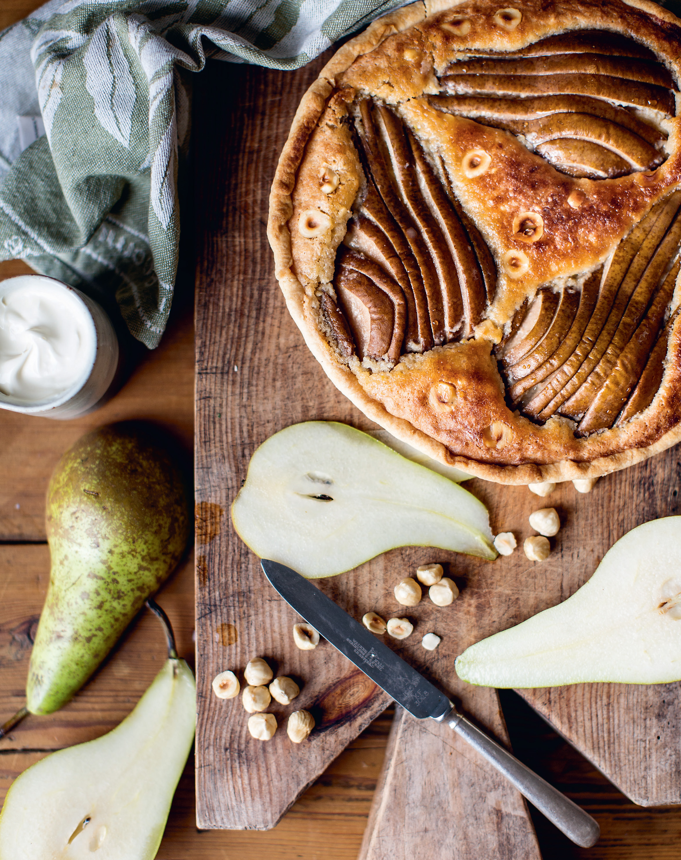 Maple glazed pear + hazelnut tart