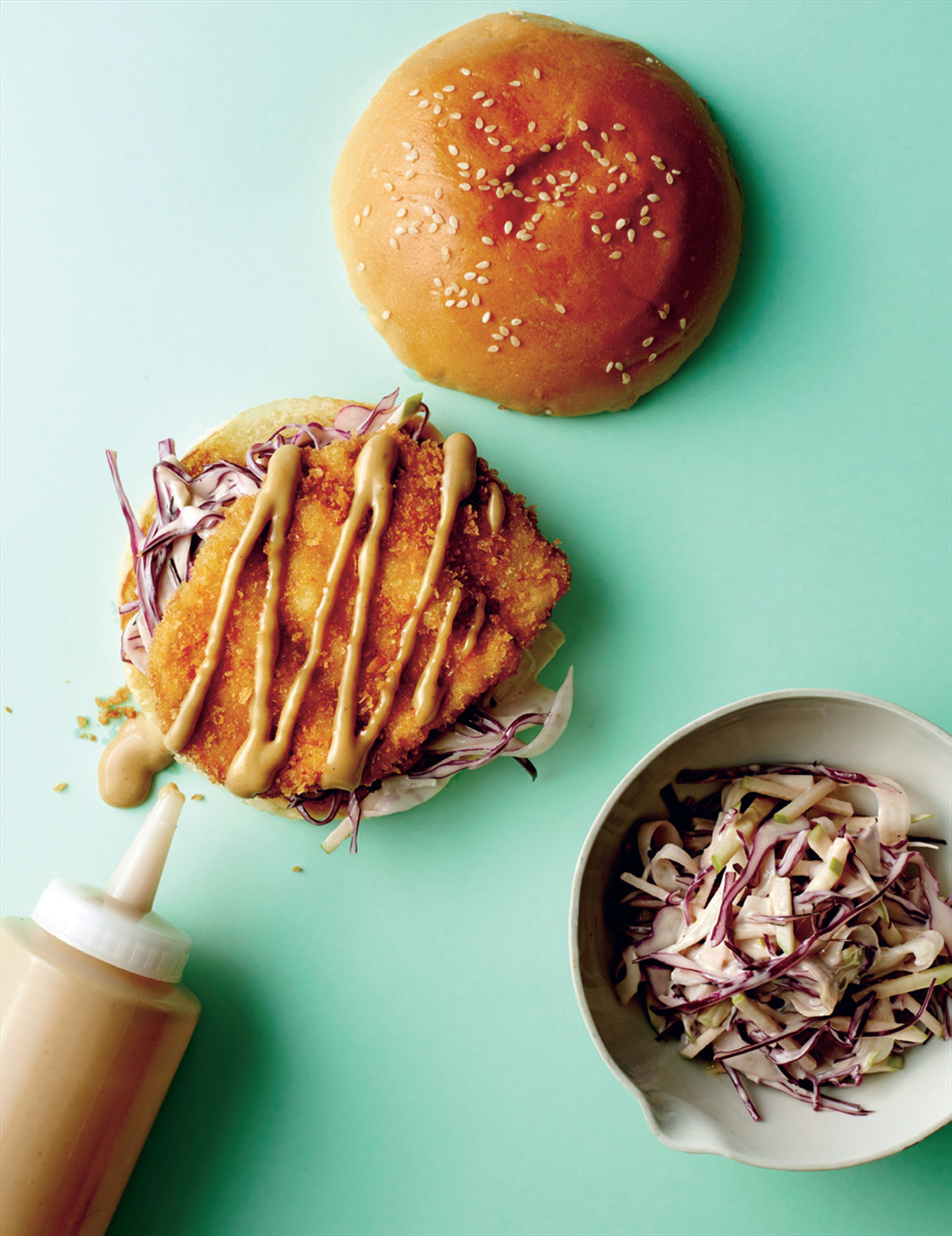 Tonkatsu pork burger with apple & fennel slaw