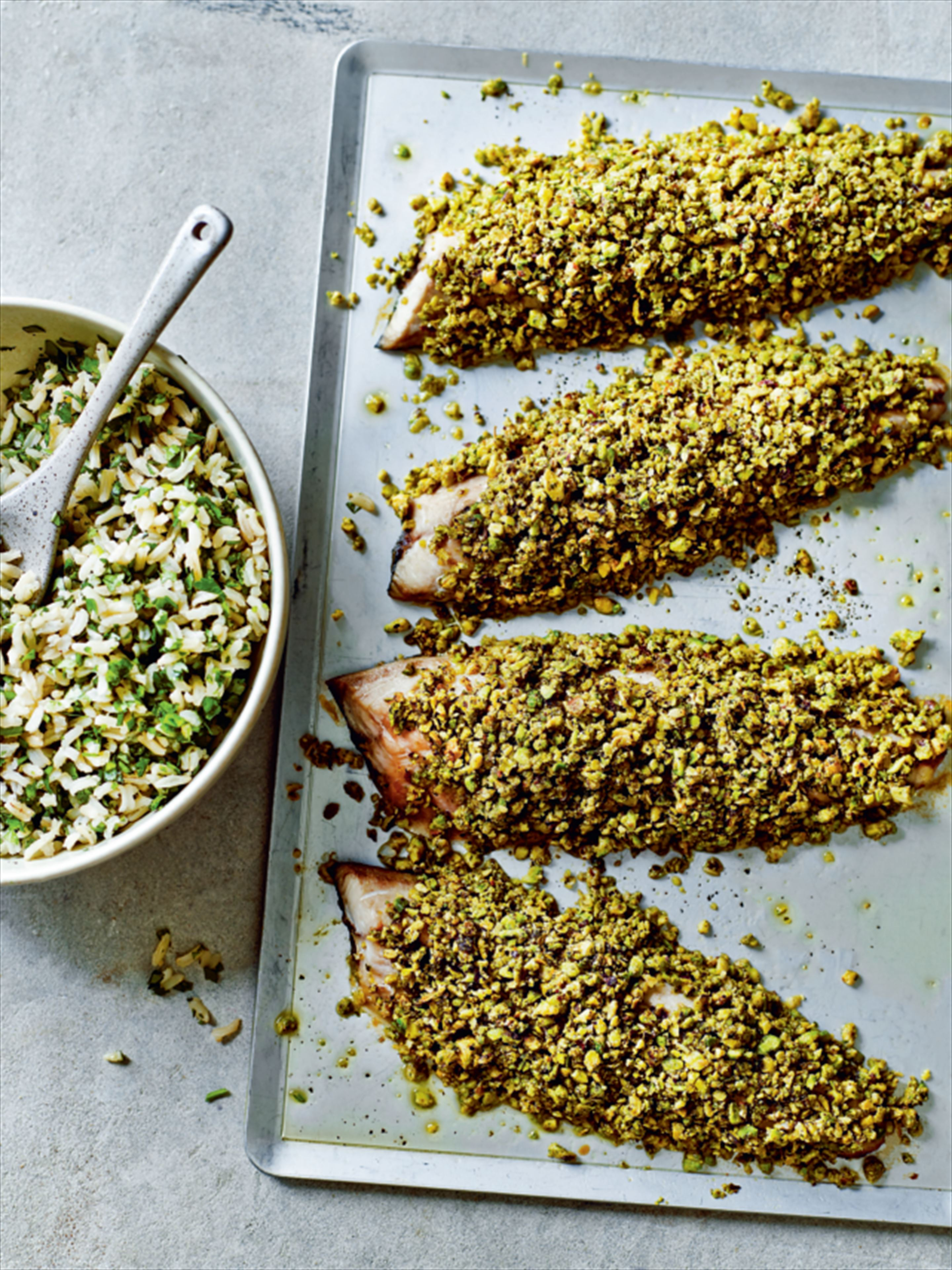 Pistachio-crusted mackerel with green rice