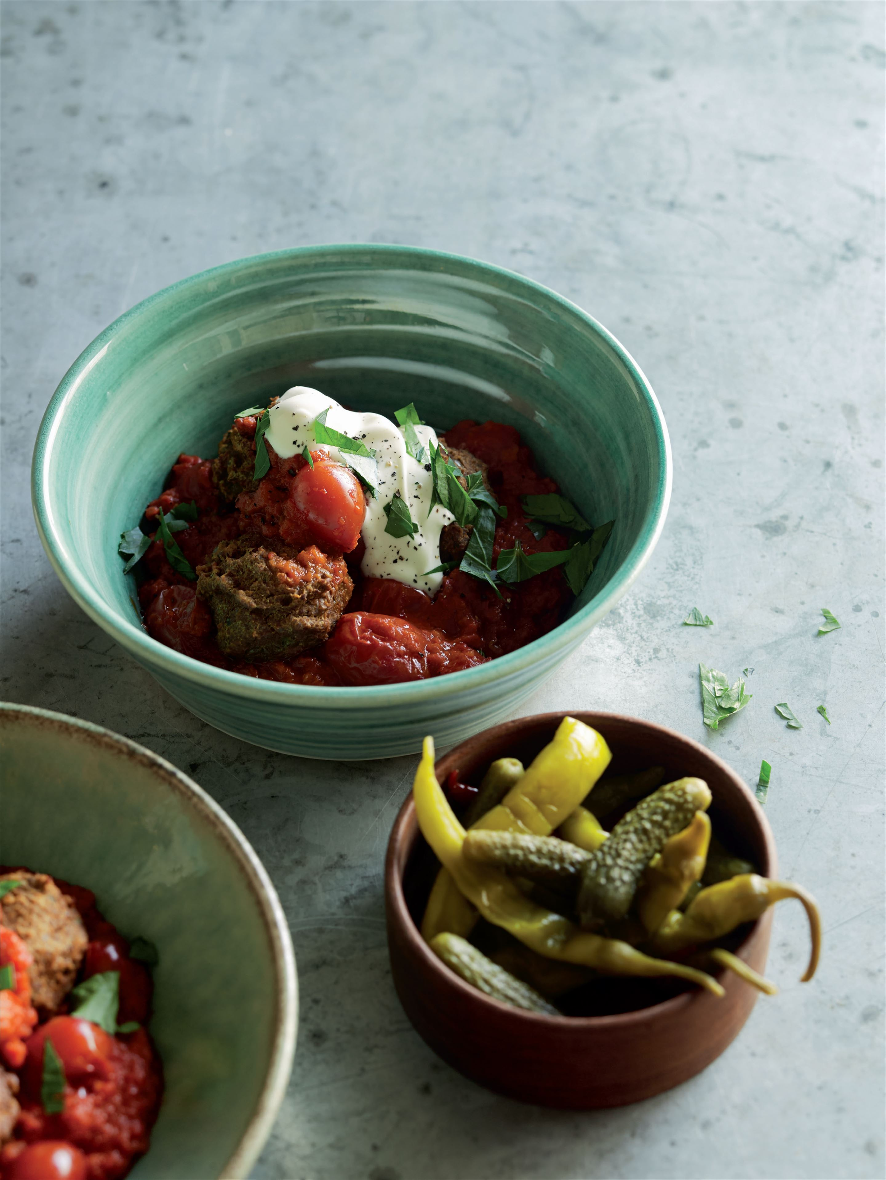 Lentil 'meatballs' with ajvar and tomato