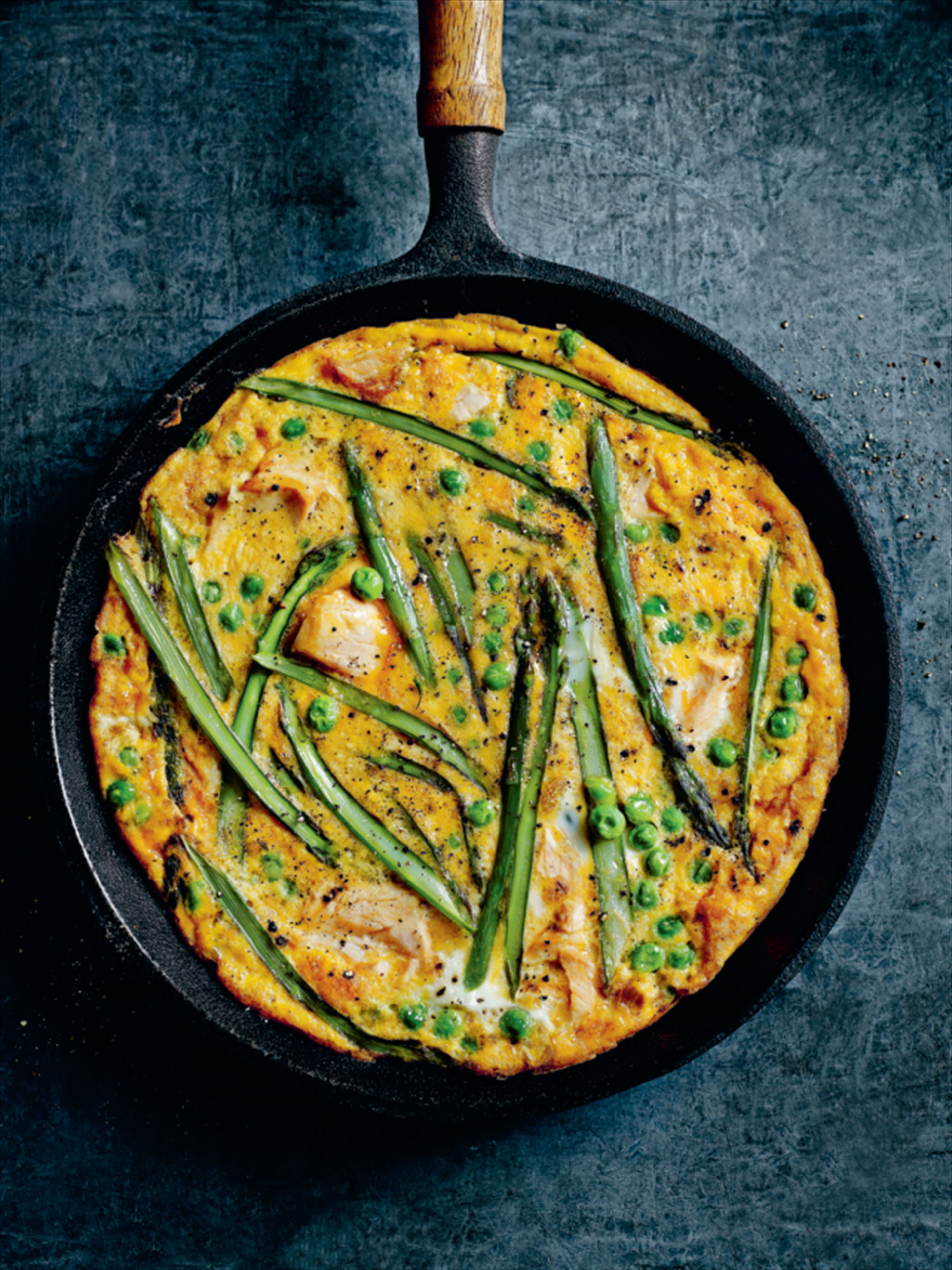 Salmon, pea and asparagus frittata