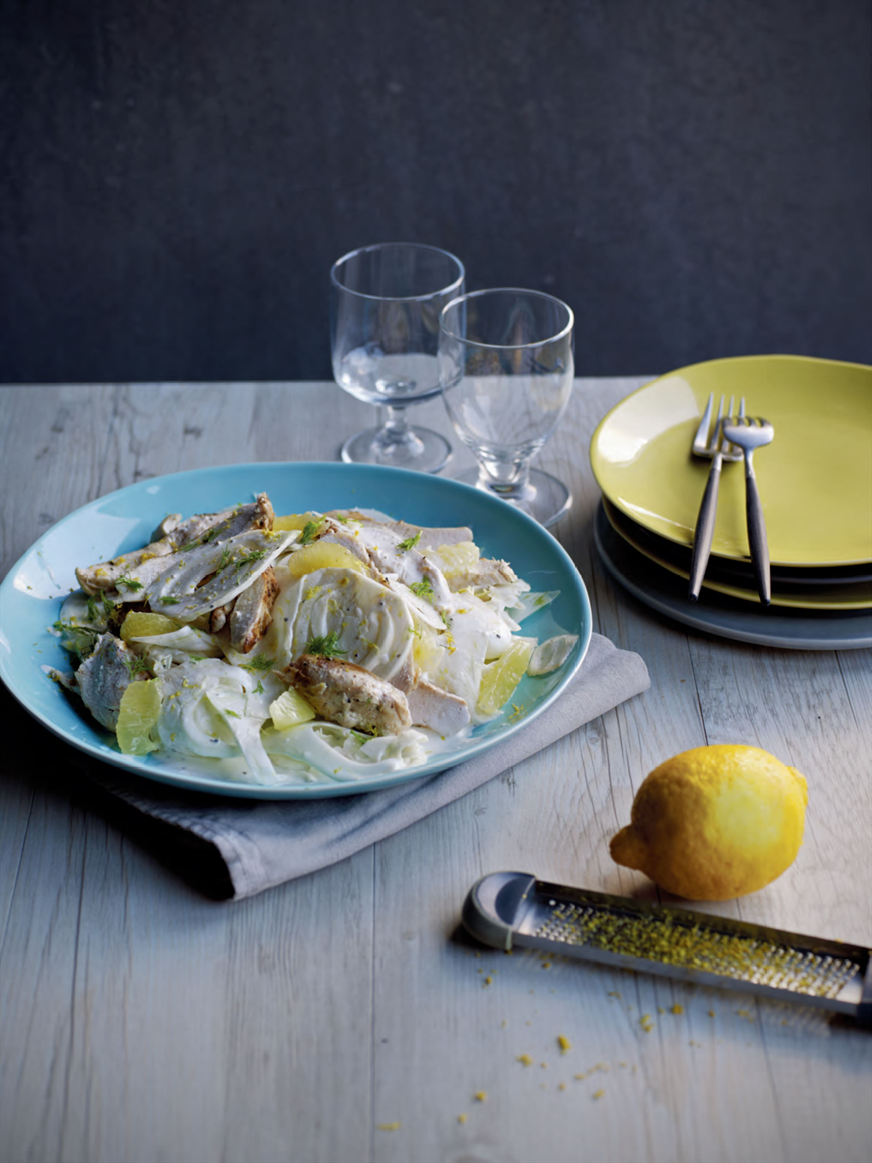 Pan-fried chicken with lemon & fennel salad