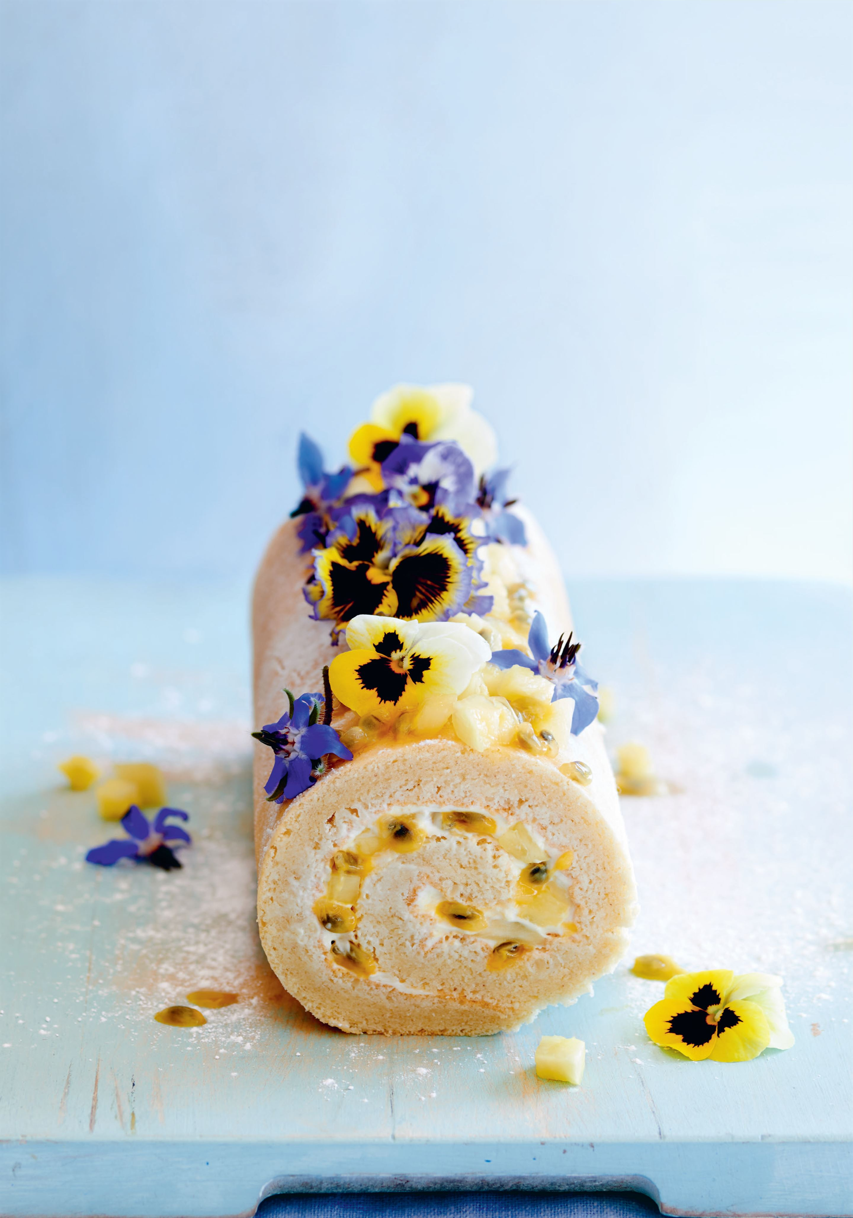 Pineapple and passion fruit roulade