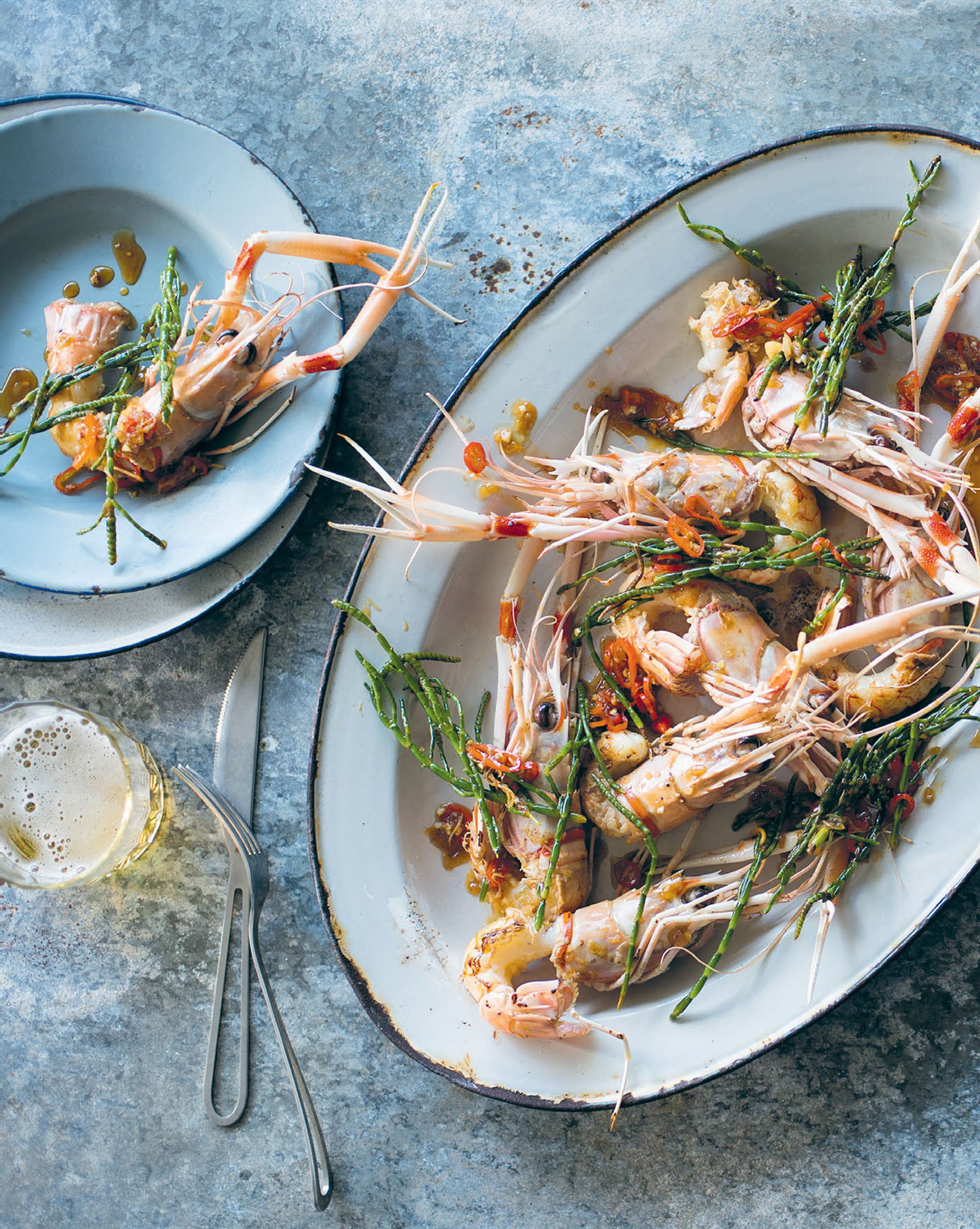 Wok-tossed langoustines with samphire & oyster sauce