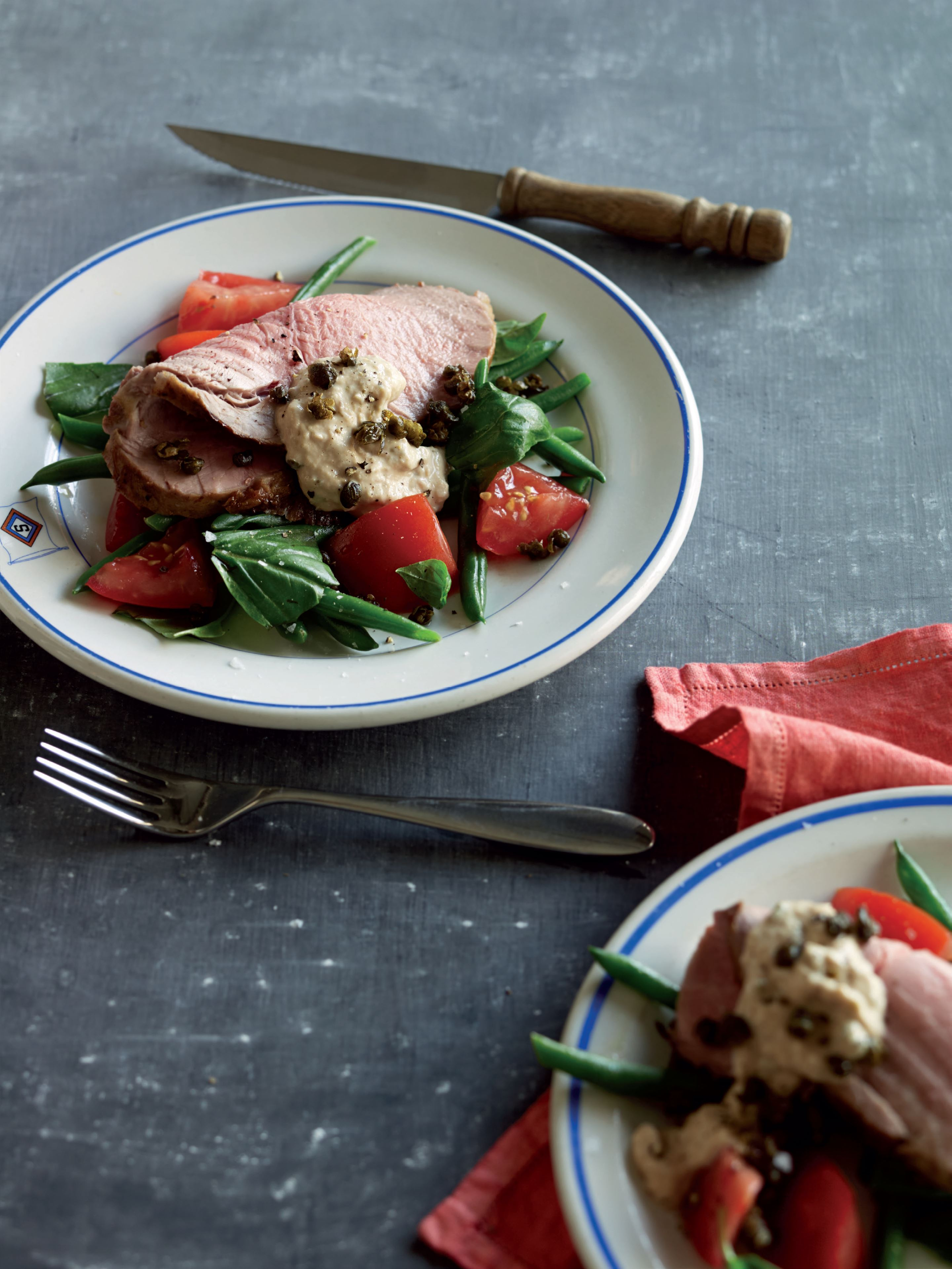 Vitello tonnato with green bean and tomato salad