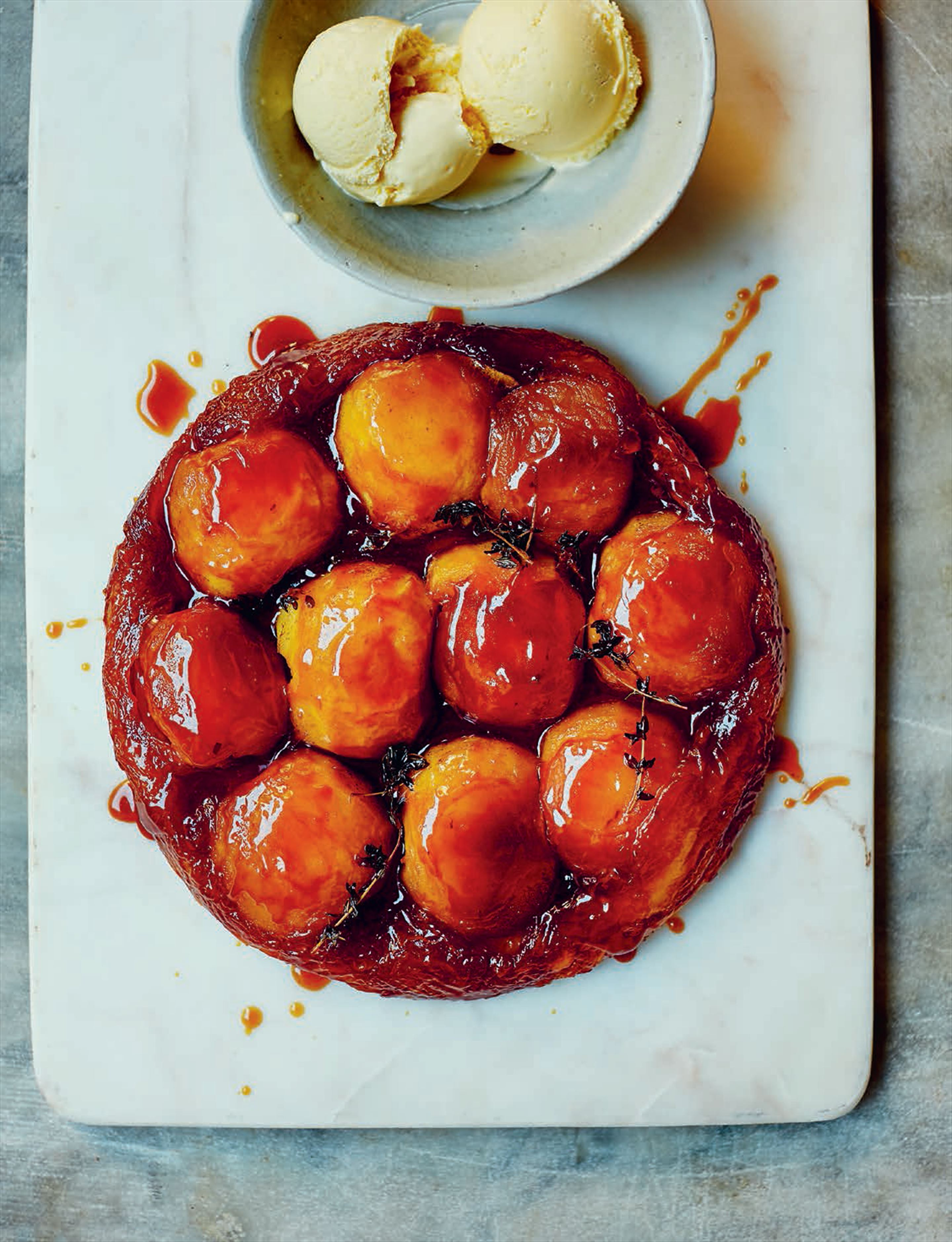 Apple tatin with salted honey ice cream