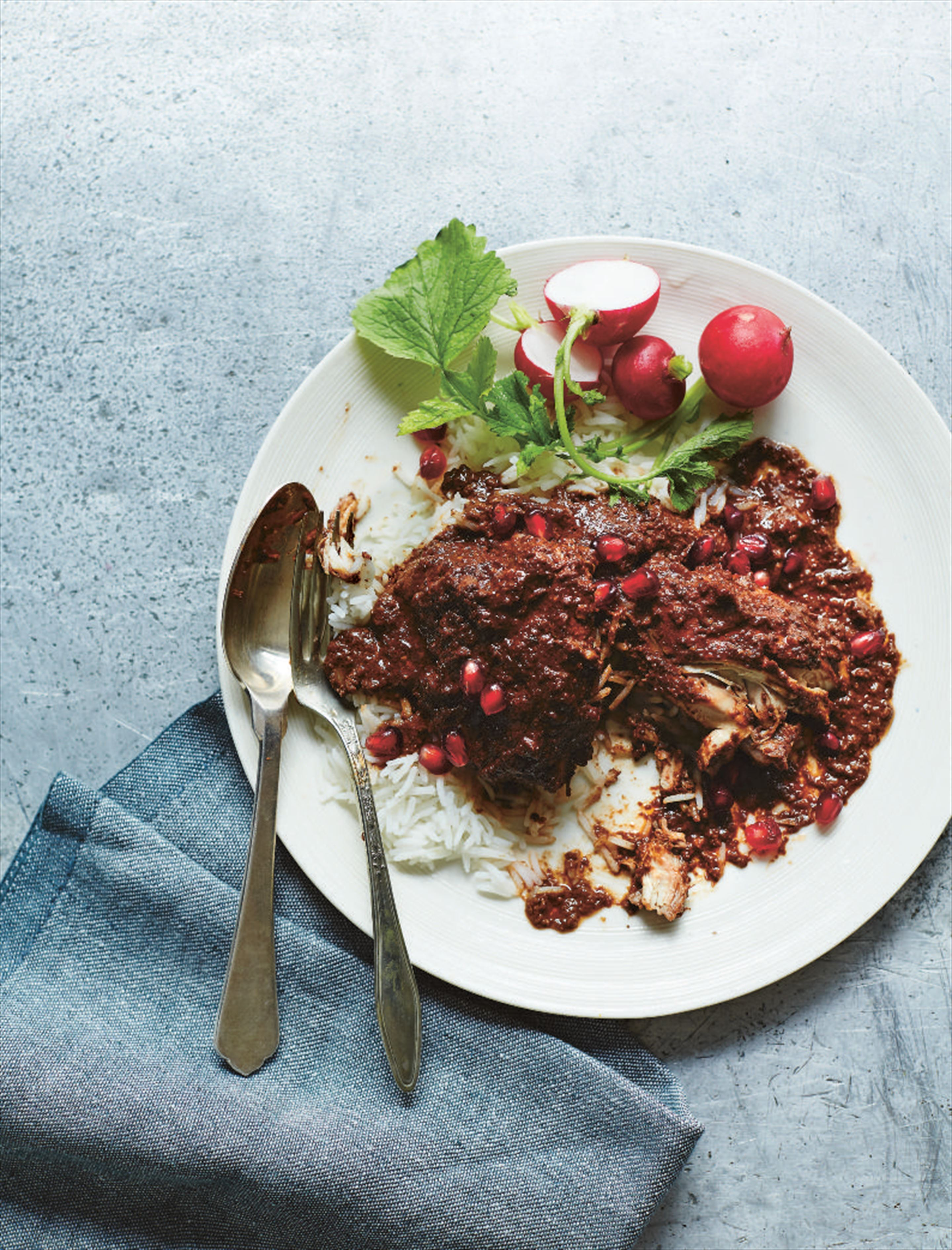 Chicken with walnuts and pomegranates