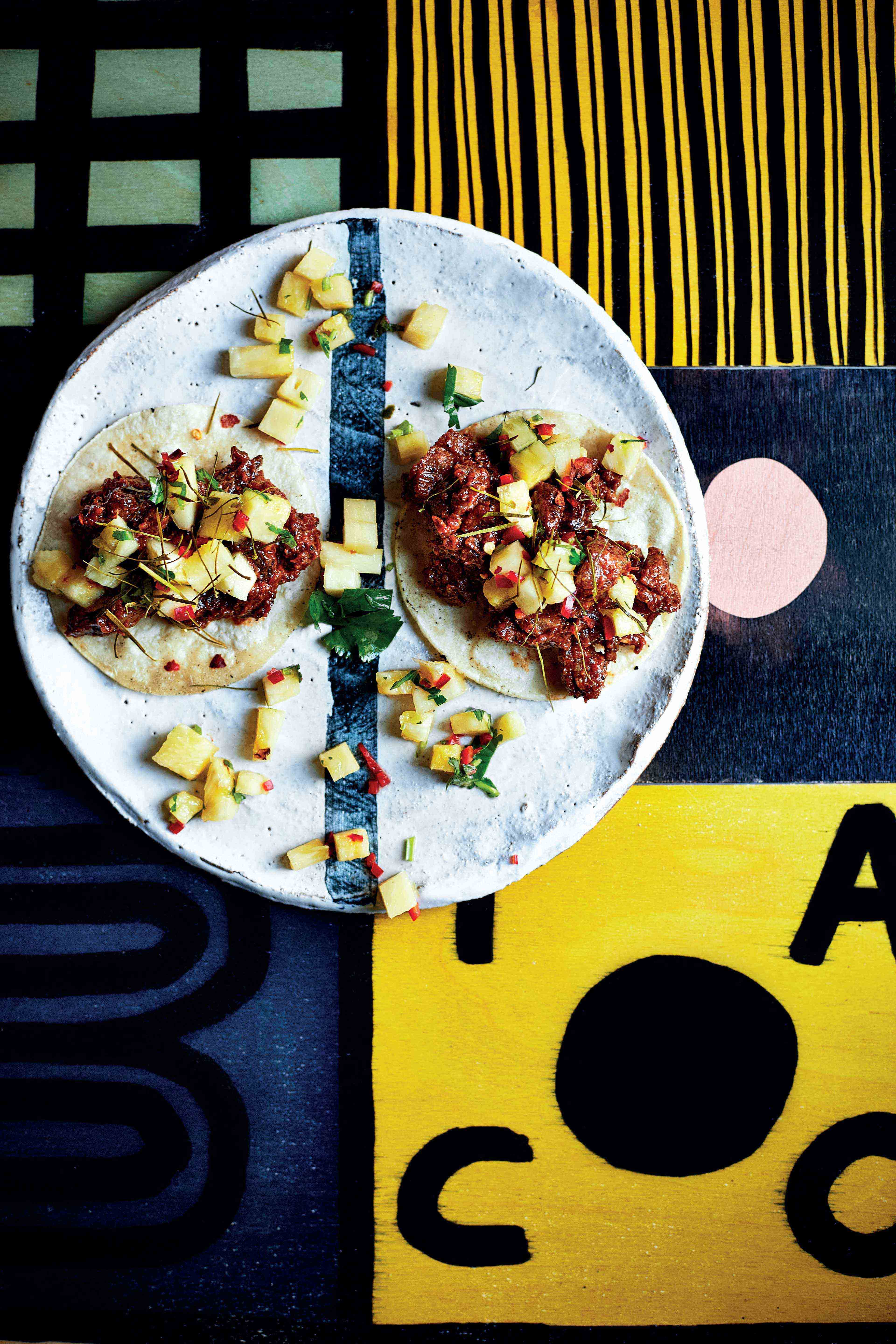 Red curry paste braised beef short-rib taco with pineapple nam prik relish