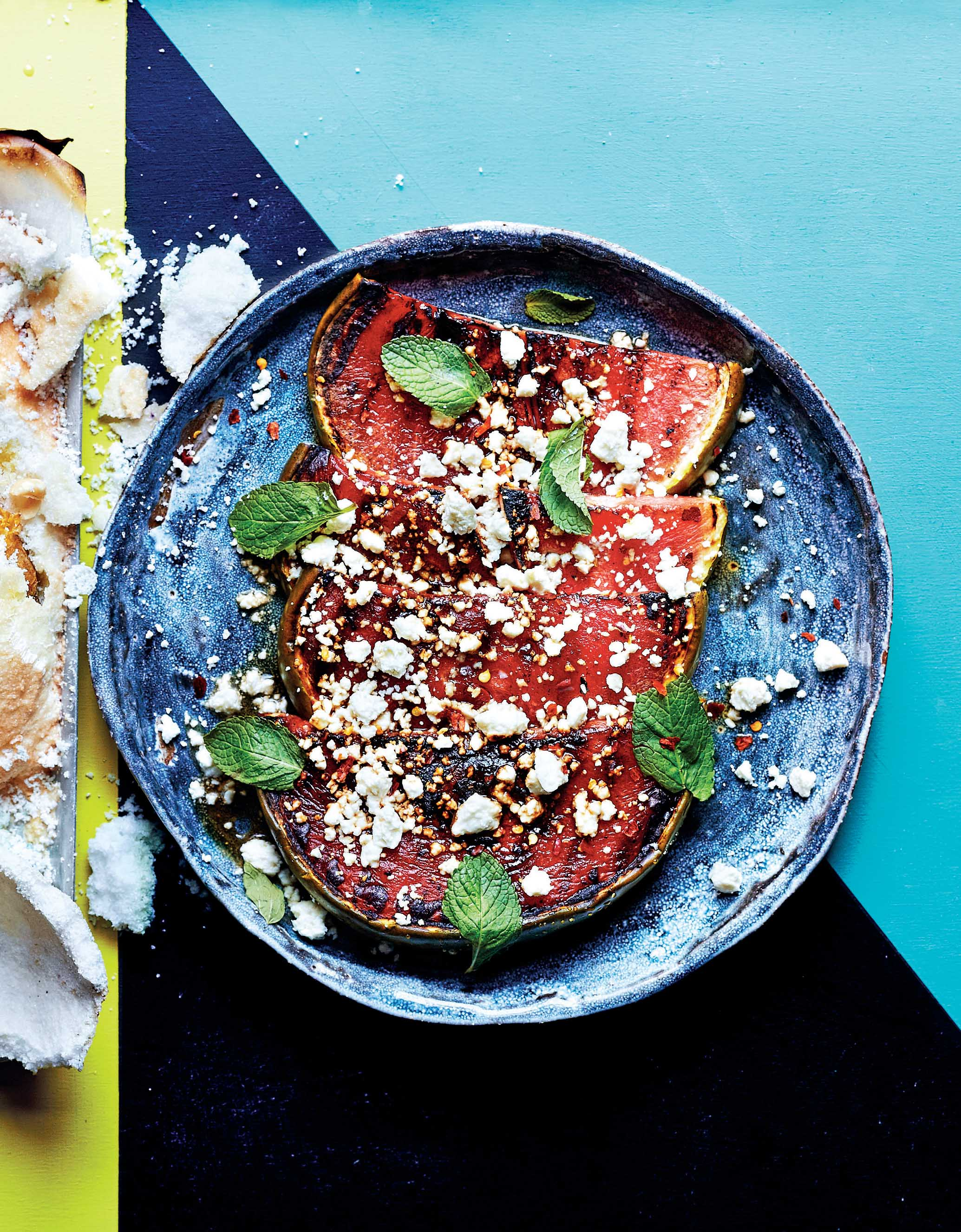 Barbecued watermelon, mint & queso fresco