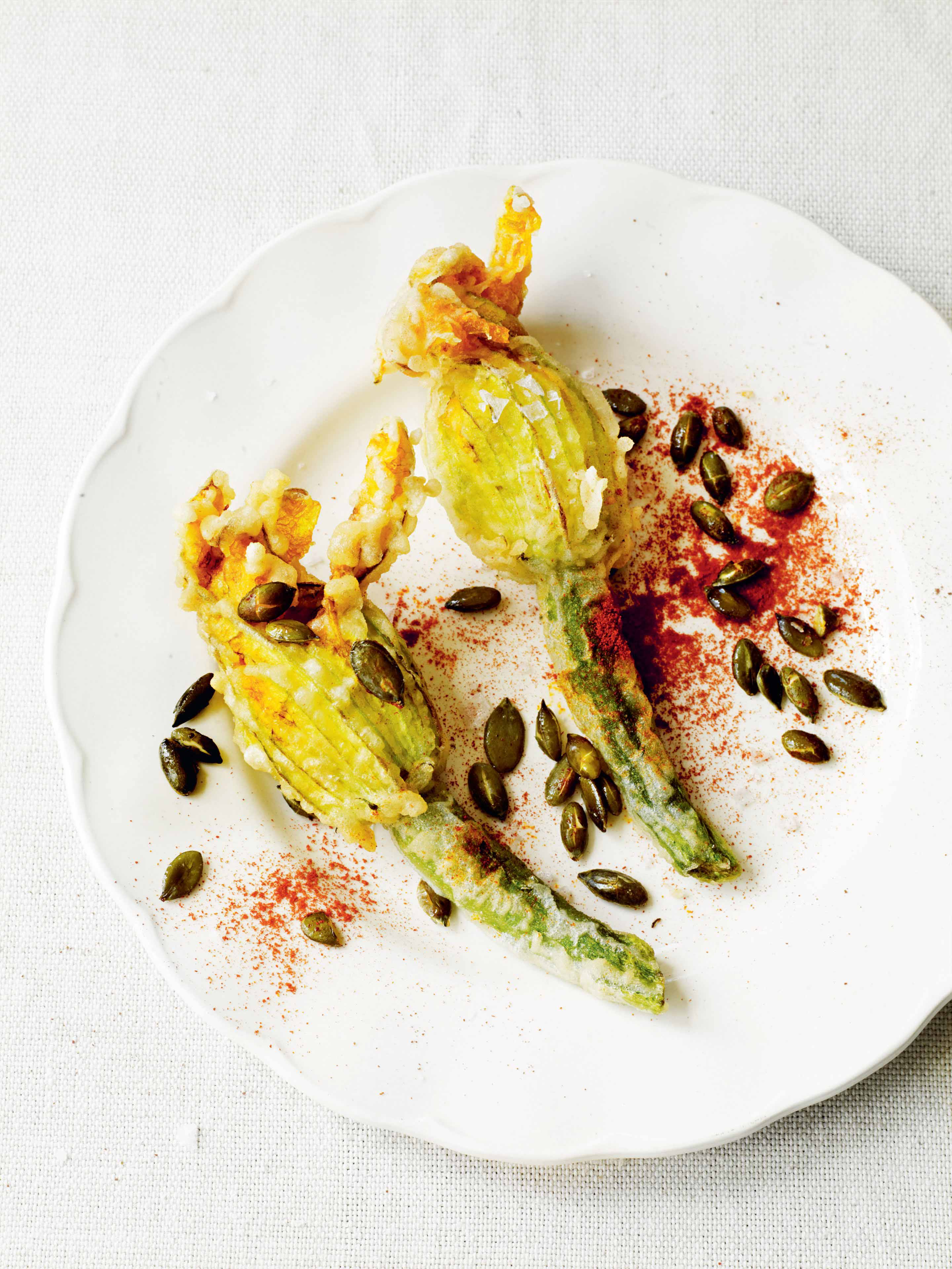 Courgette flowers with salt cod