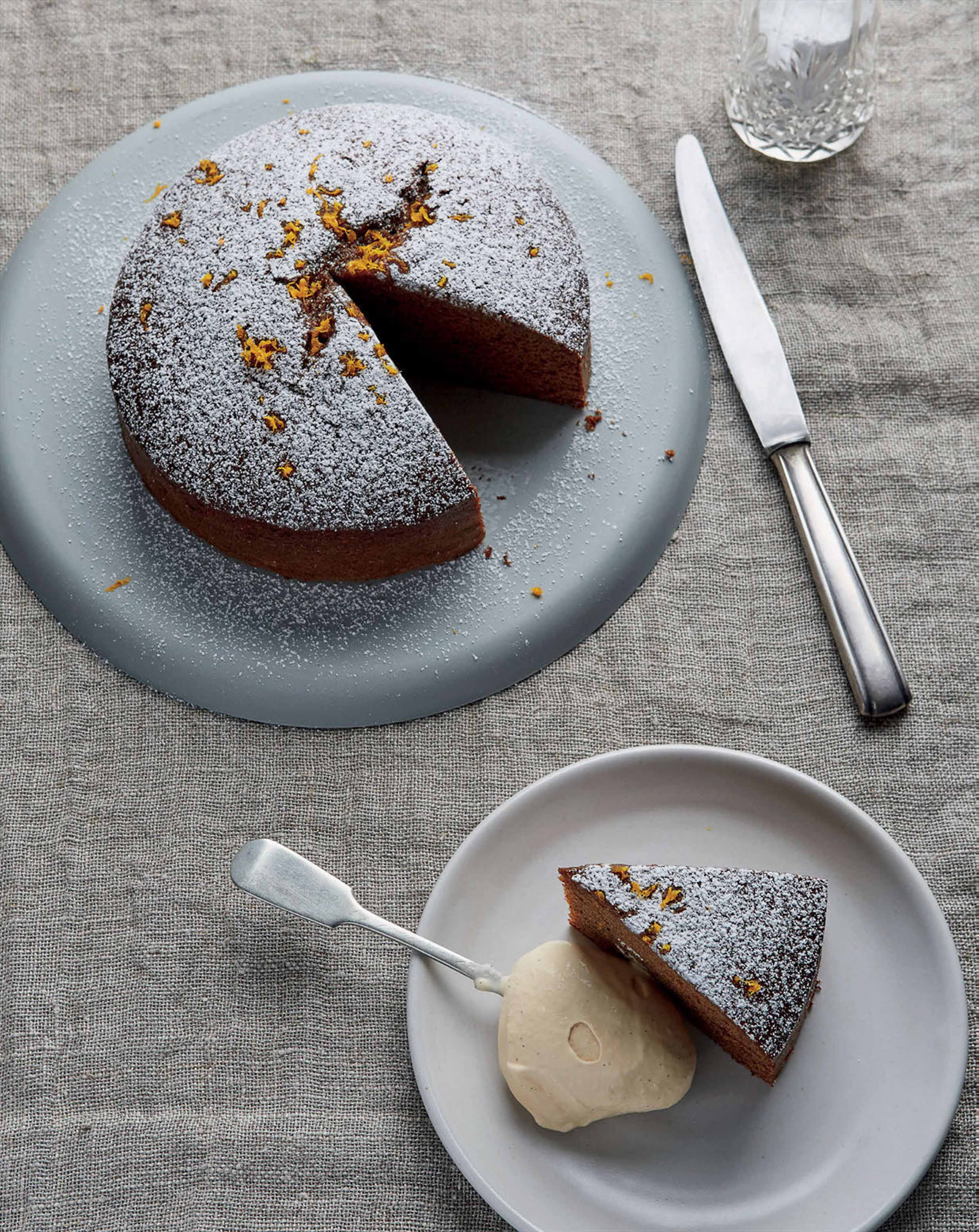 Jamaican ginger cake with caramelised white chocolate ice cream